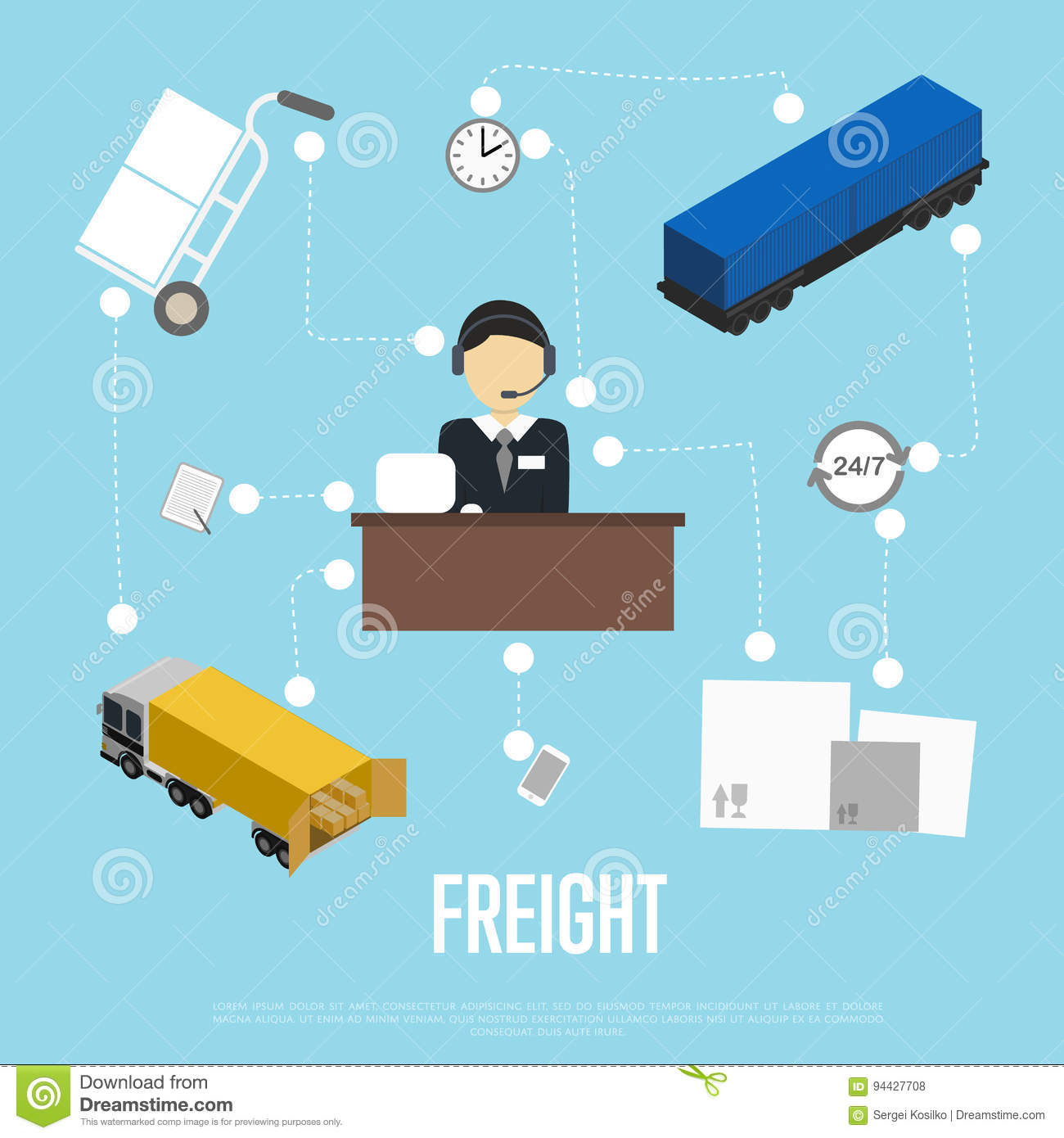 Logistics And Freight Shipment Flowchart Stock Vector - Illustration