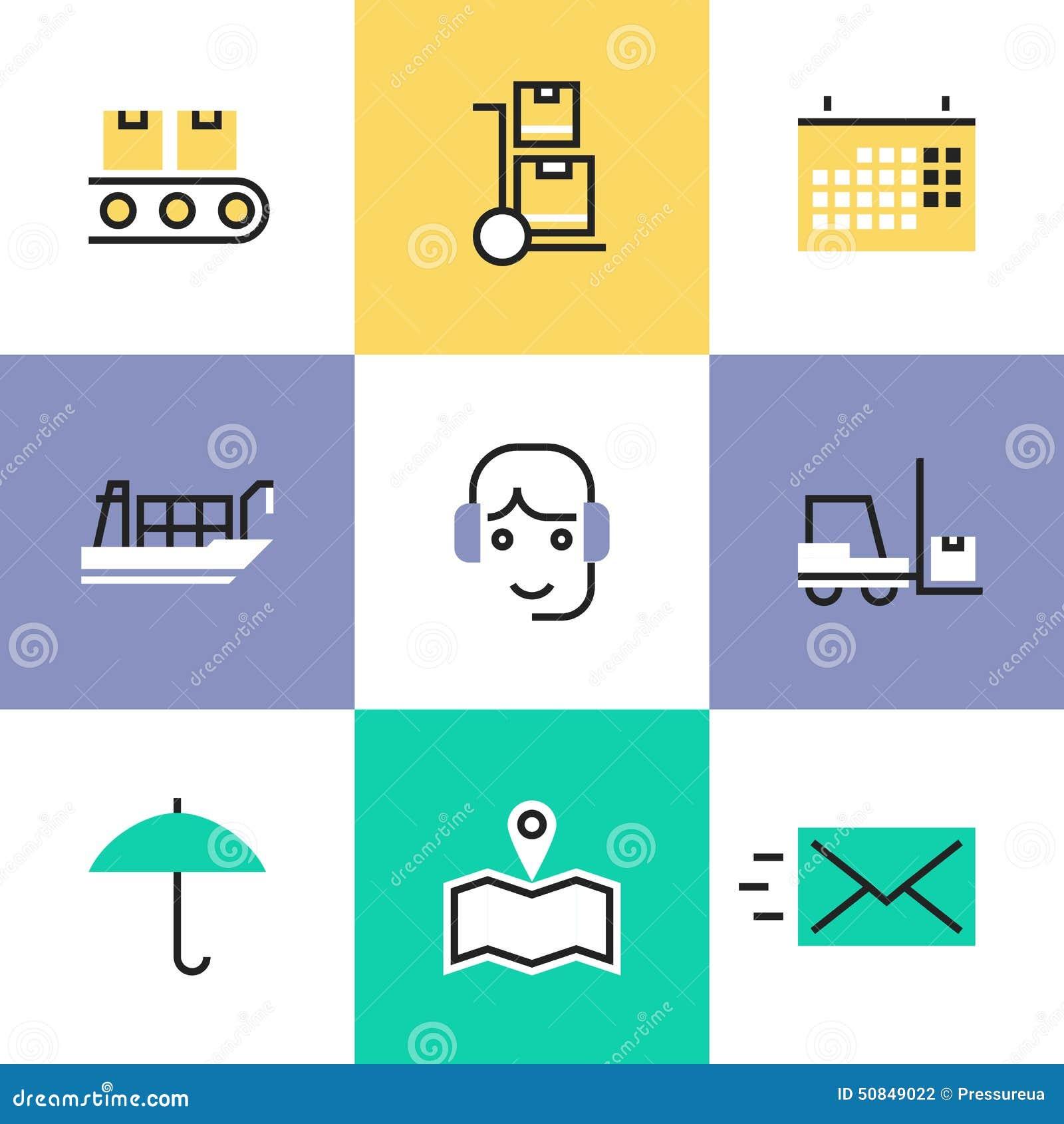 Logistics Calendar Design : Logistics industry services pictogram icons set stock