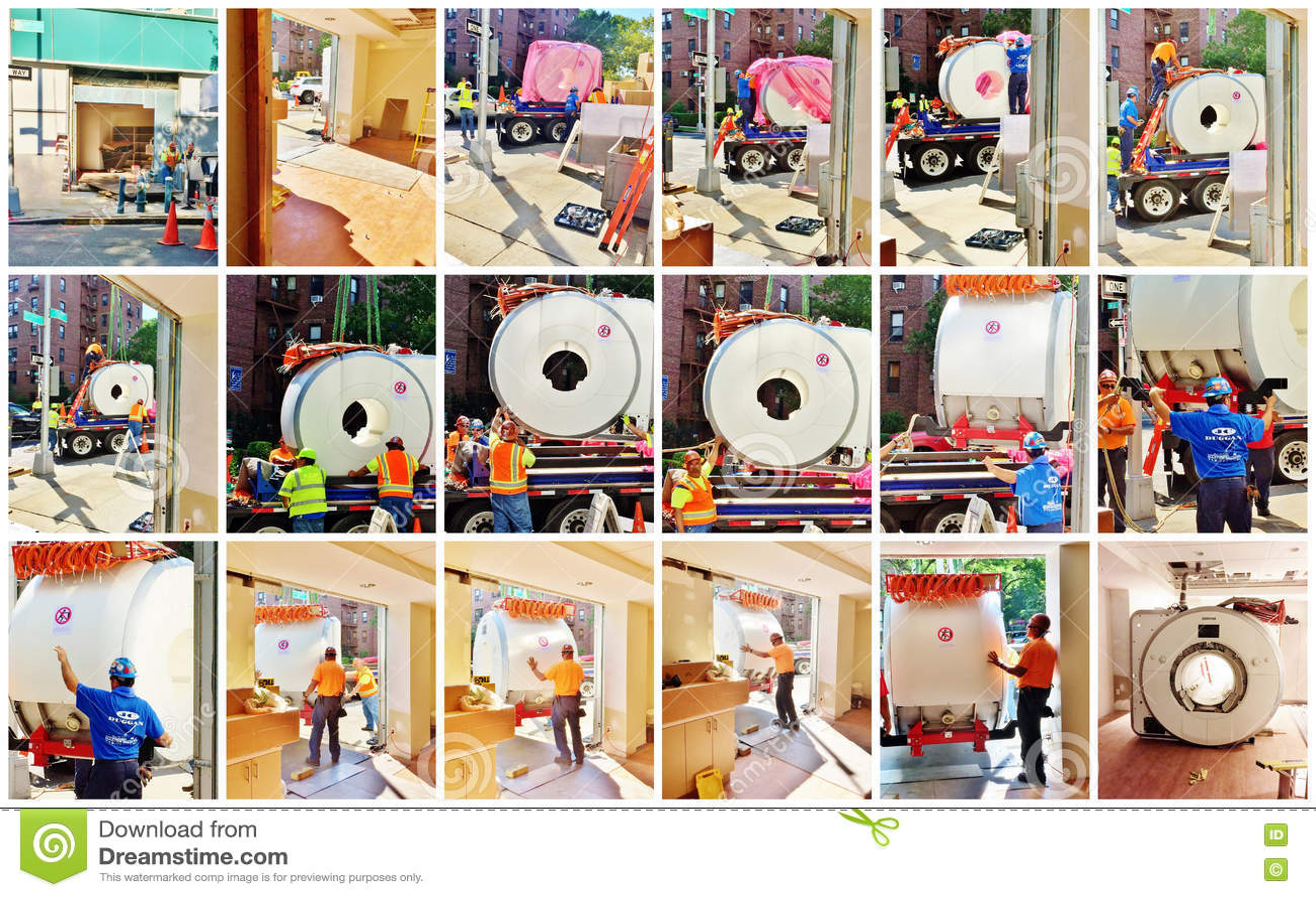 Logistics And Installation Of Mri Camera Collage Editorial Stock