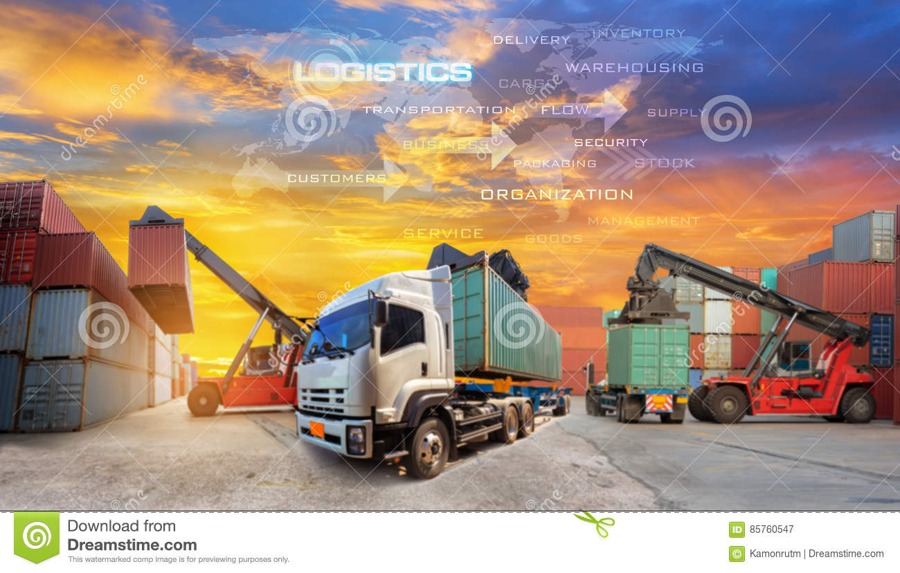 Logistics supply chain on screen with Industrial Container Cargo