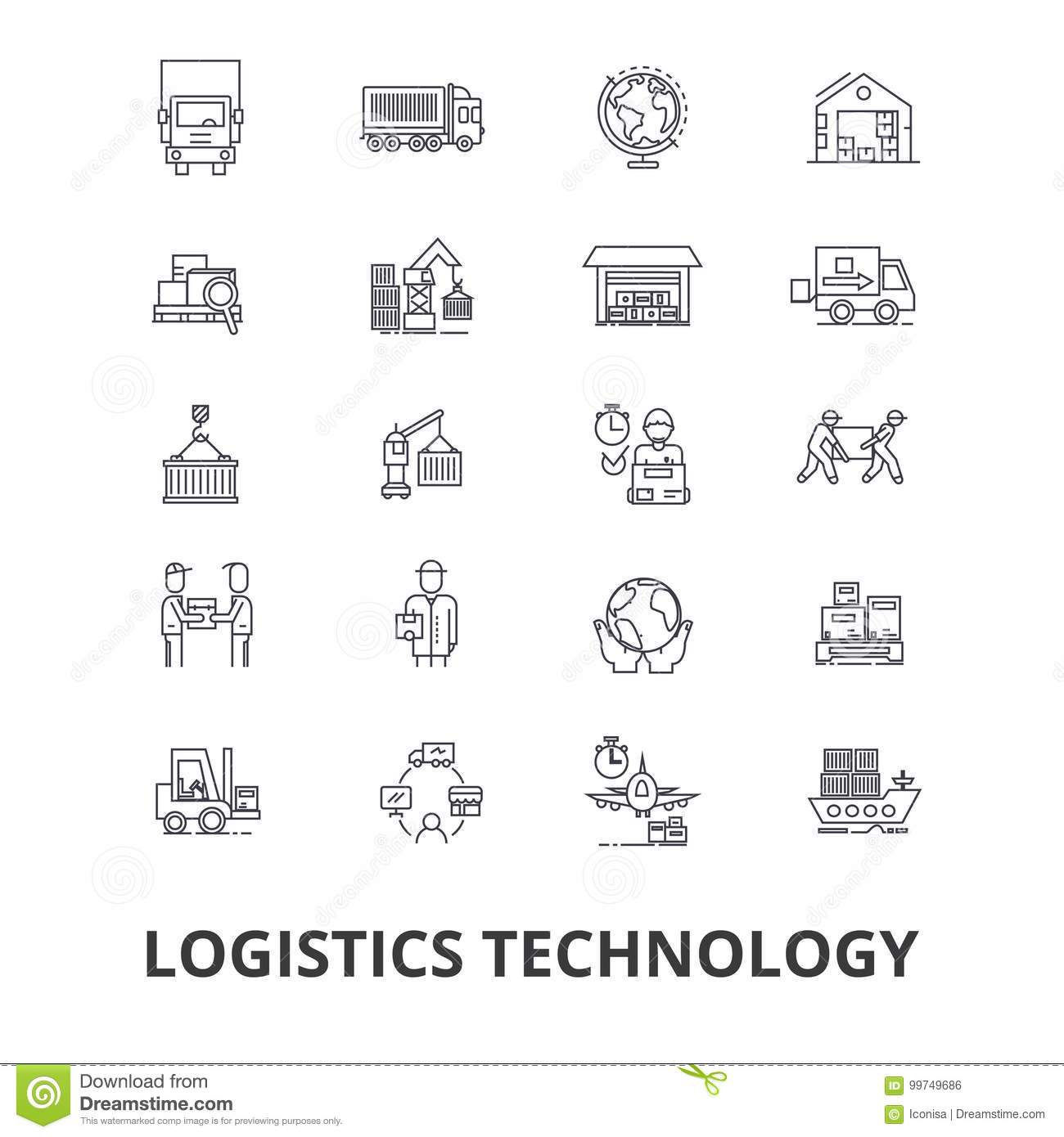 Logistics technology, transport, supply chain, delivery system, warehouse, cargo line icons. Editable strokes. Flat