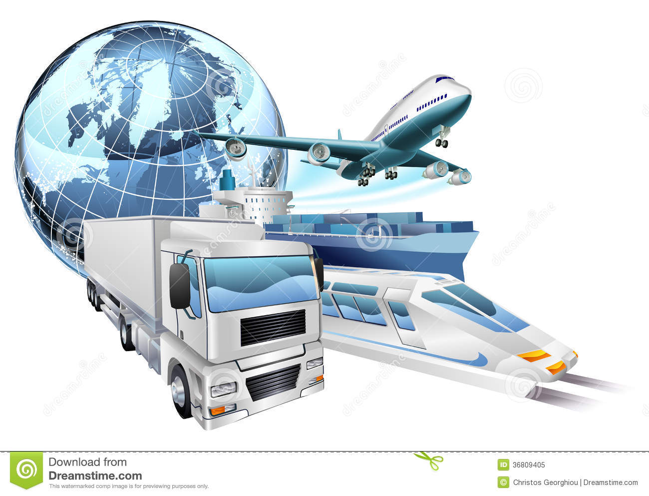 Logistics Transport Globe Concept Stock Vector - Illustration of aeroplane, distributor: 36809405