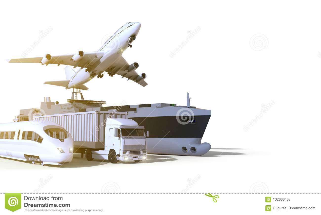 Logistics and transportation ,truck ,High speed train, Boat and plane on isolate Background