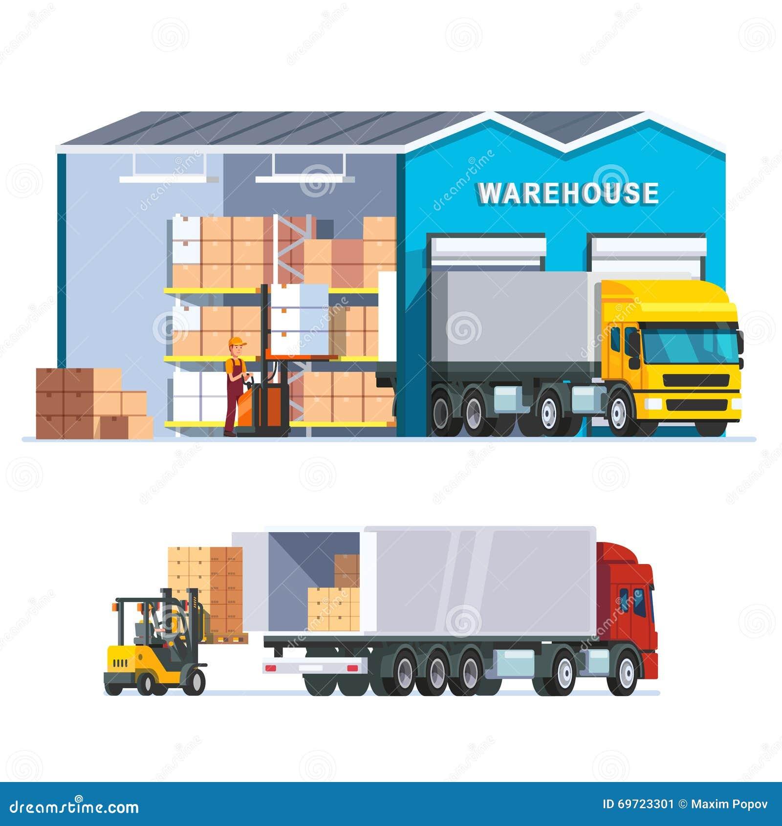 Logistik Lagern Mit Laden-LKW Ein Vektor Abbildung - Illustration ...