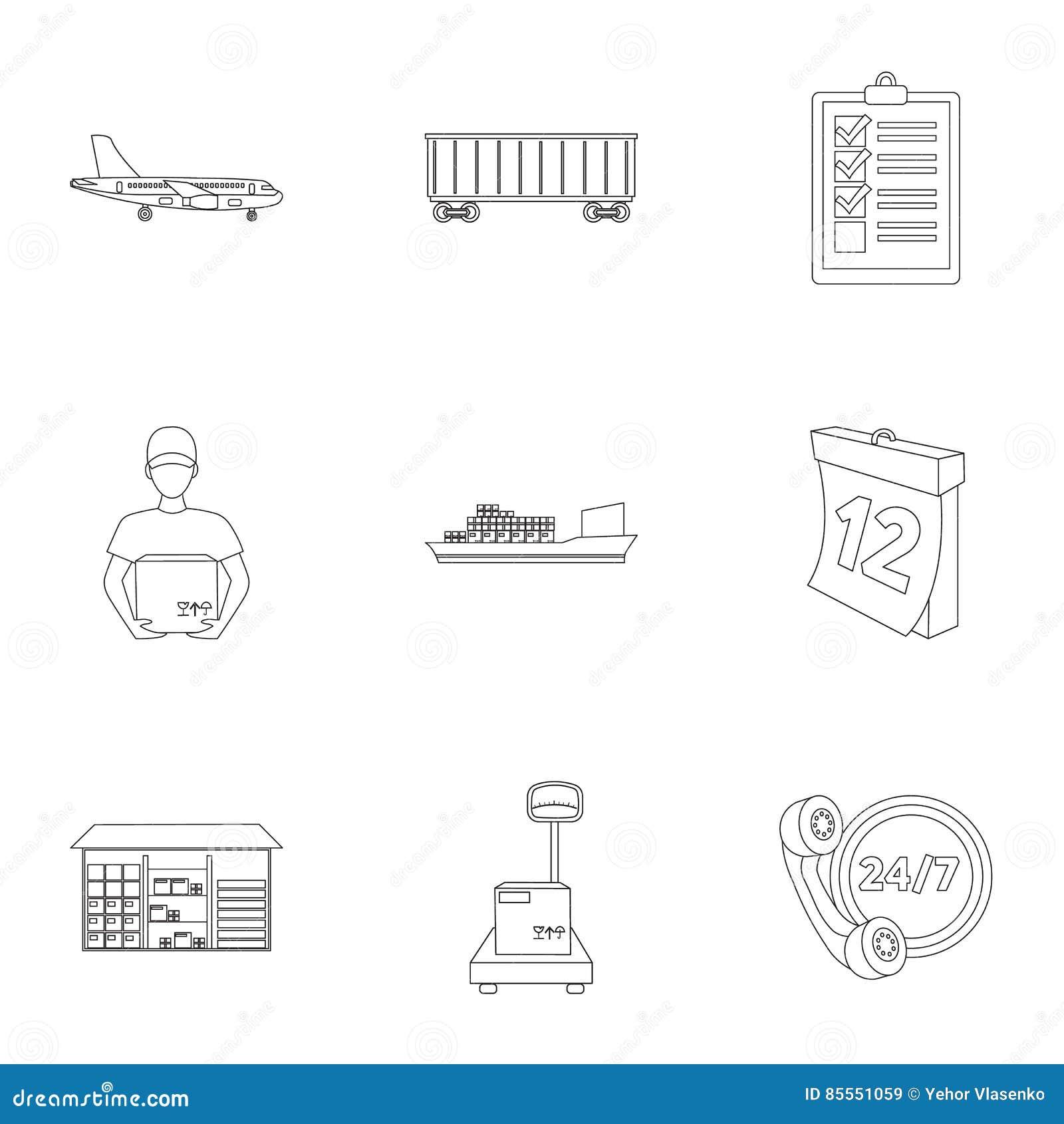 Logistische Satzikonen in der Entwurfsart Große Sammlung der logistischen Illustration