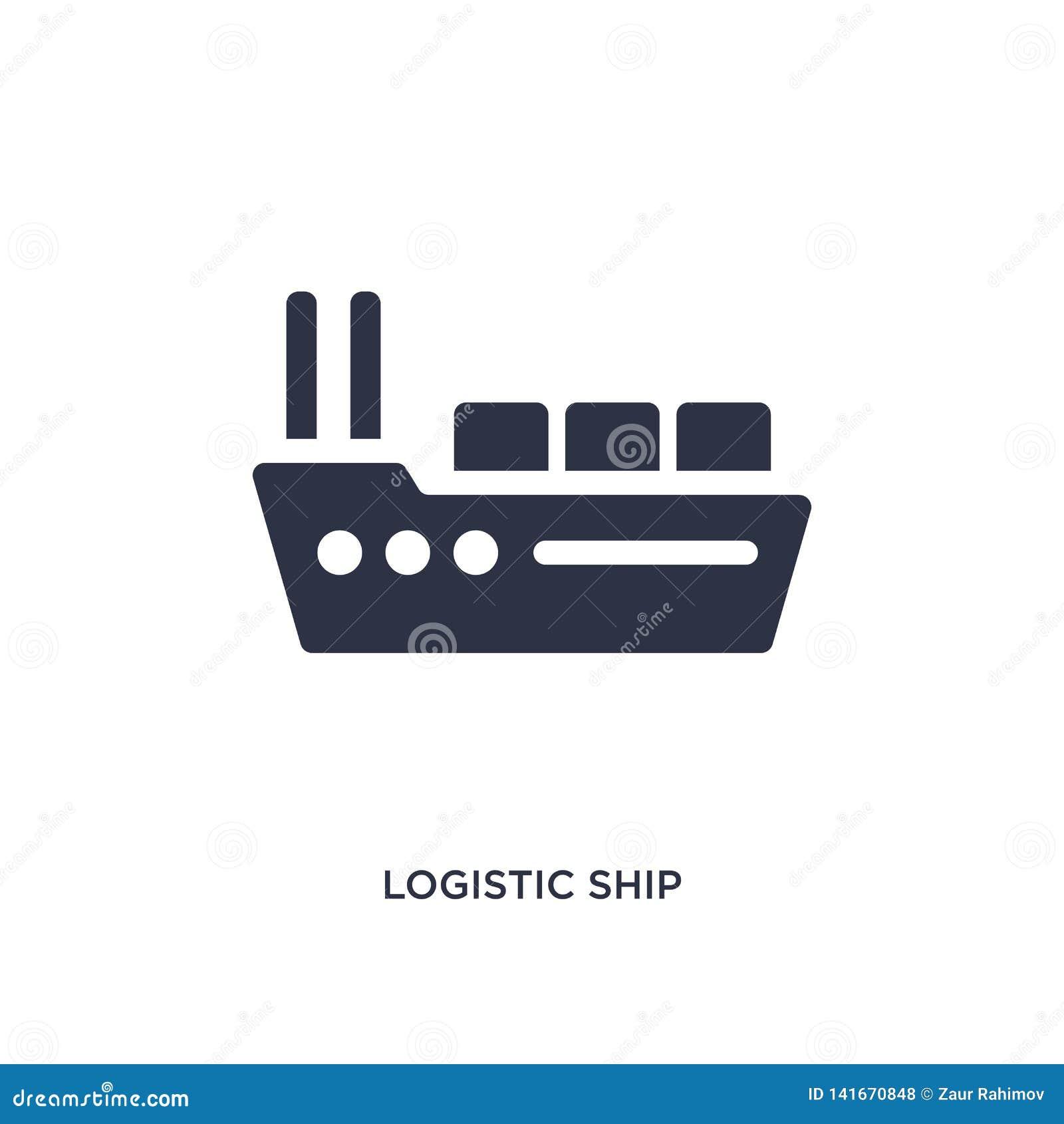 Logistisk skeppsymbol på vit bakgrund Enkel beståndsdelillustration från leverans- och logistikbegrepp