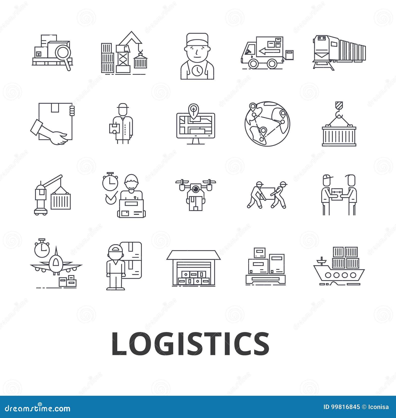 Logistyki, transport, magazyn, łańcuch dostaw, ciężarówka, dystrybucja, statek kreskowe ikony Editable uderzenia Płaski projekt