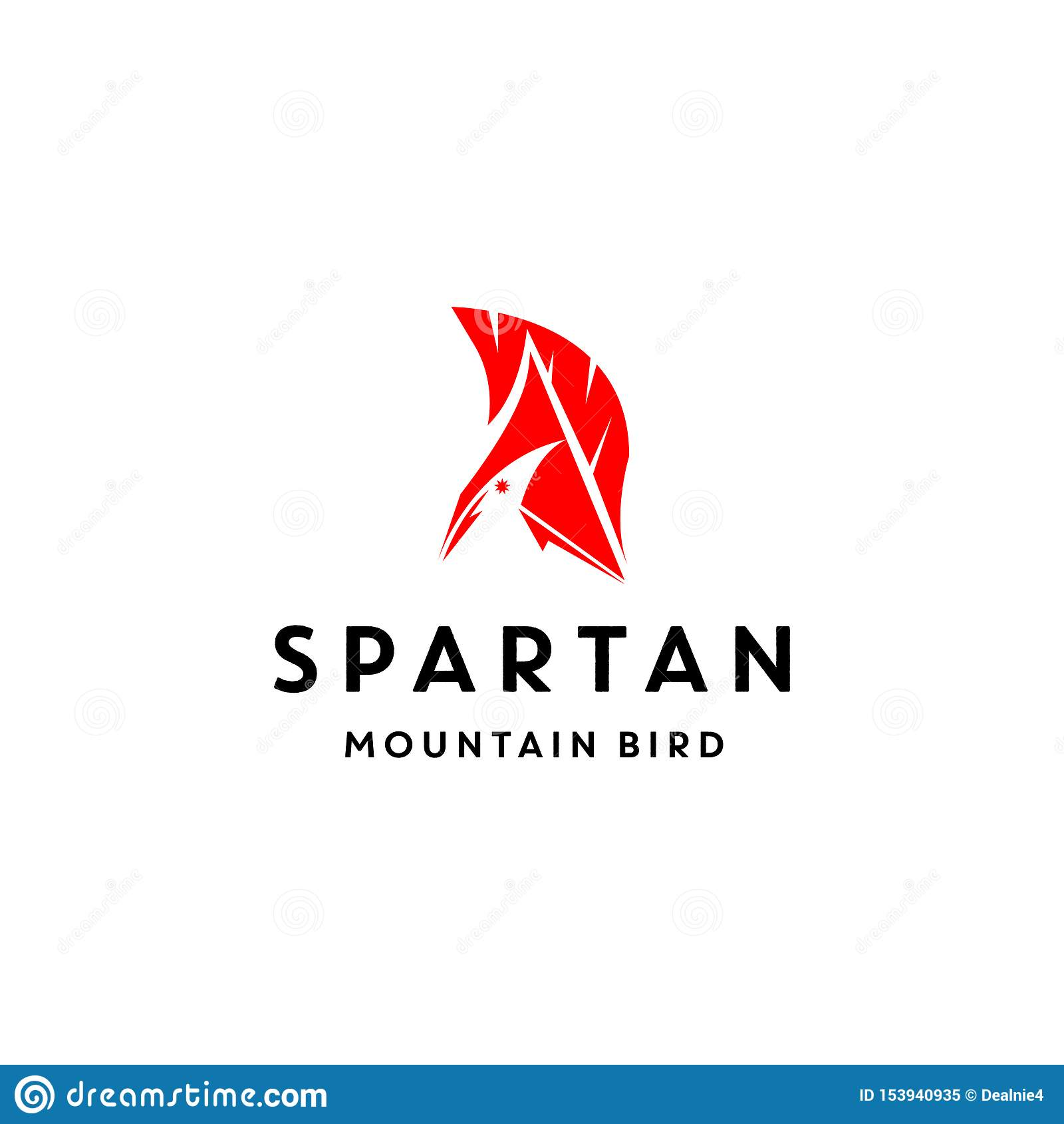 Unique logo design with Bird, Mountain and spartan helmet vector icon illustration inspiration