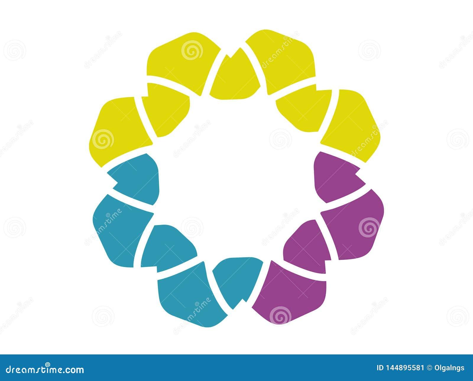 Logo abstrait de fleur, trois couleurs