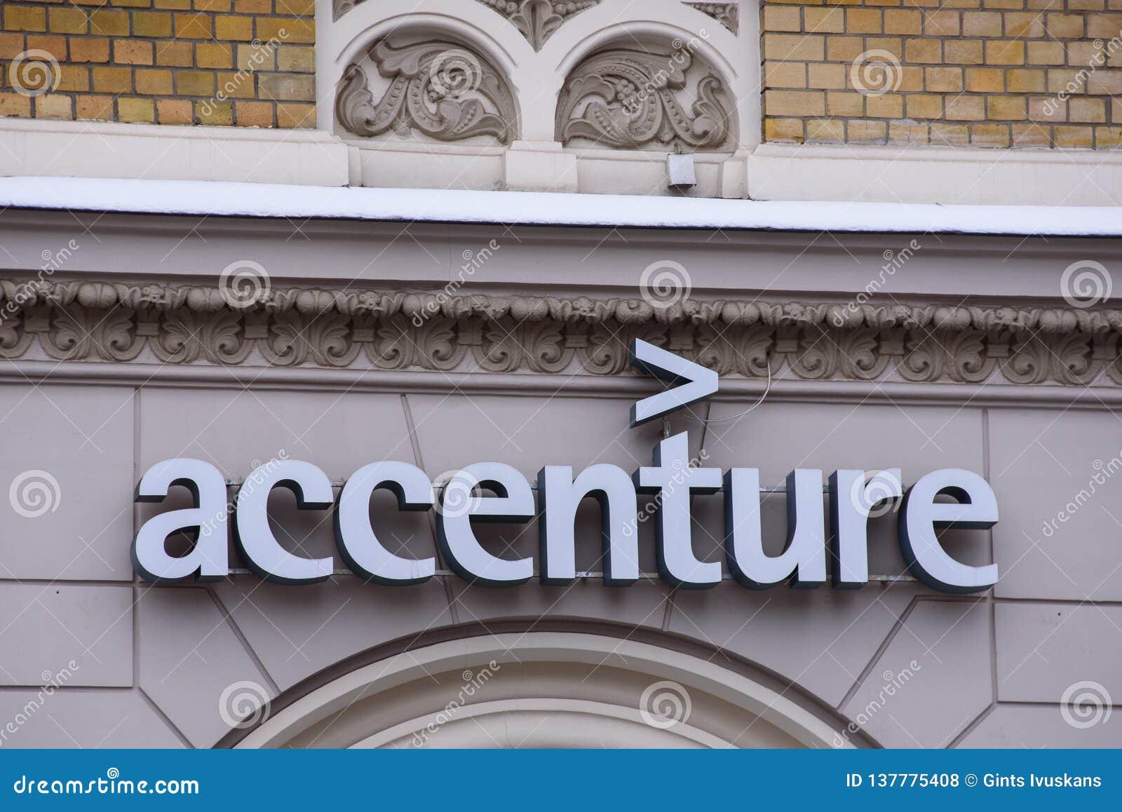 Logo Of Accenture Company In Riga City  Editorial Stock Photo
