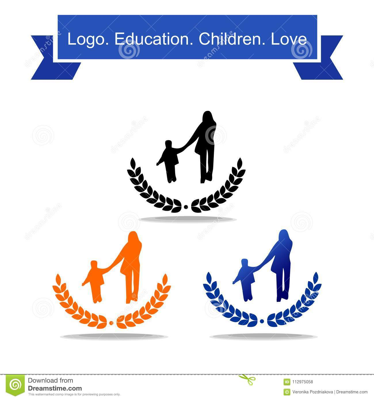 Logo of an adult and a child hold on to the hand. Education
