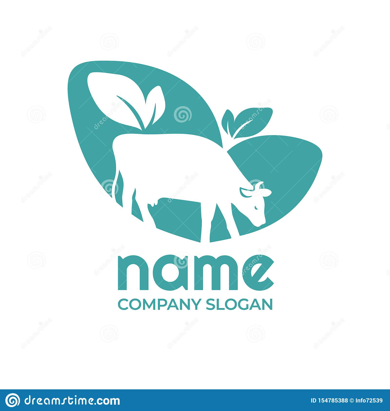 Logo For Agricultural Company With Cow Stock Vector