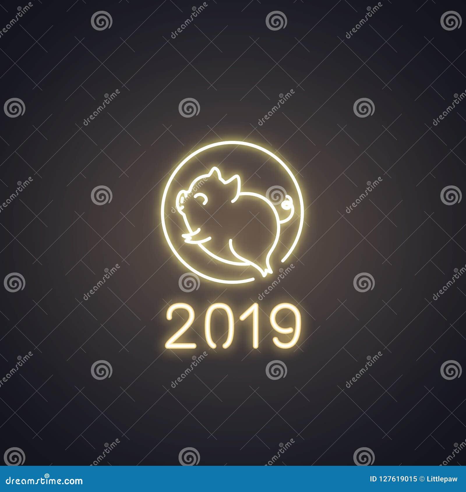 Oroscopo Cinese Maiale 2019 logo al neon del maiale sveglio, progettazione 2019