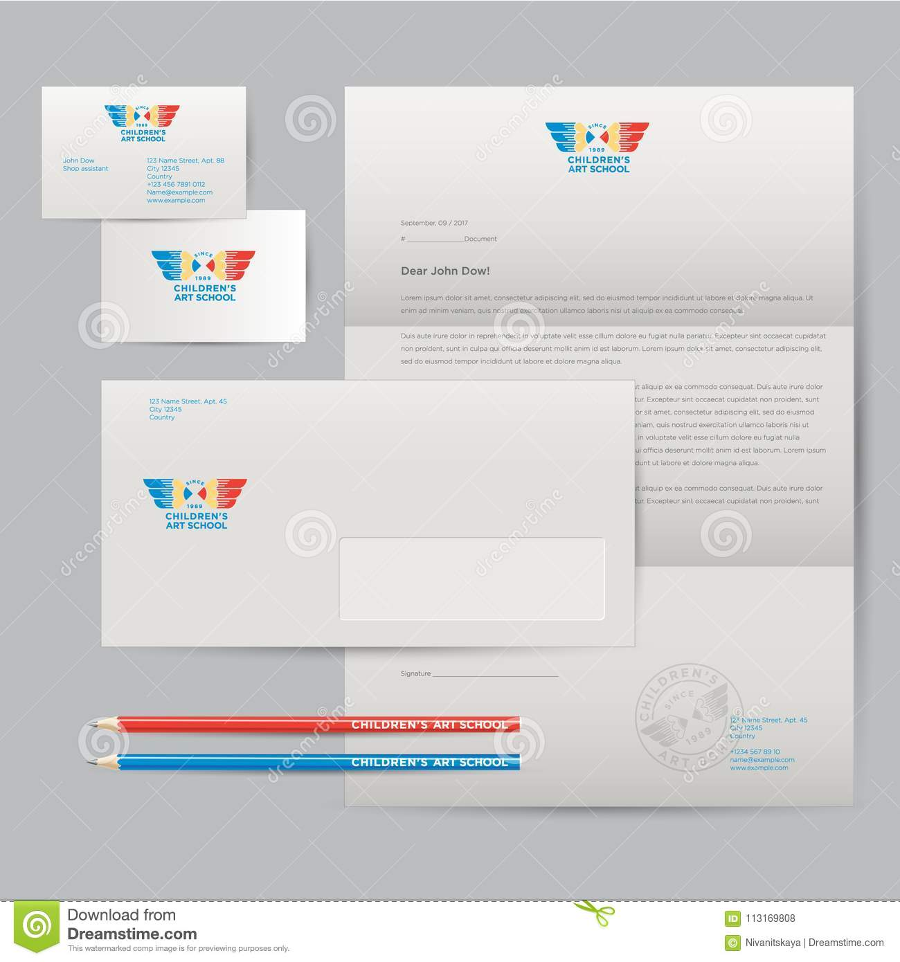 Logo Of Art School And Identity. Pencils With Wings Emblem. Envelope ...