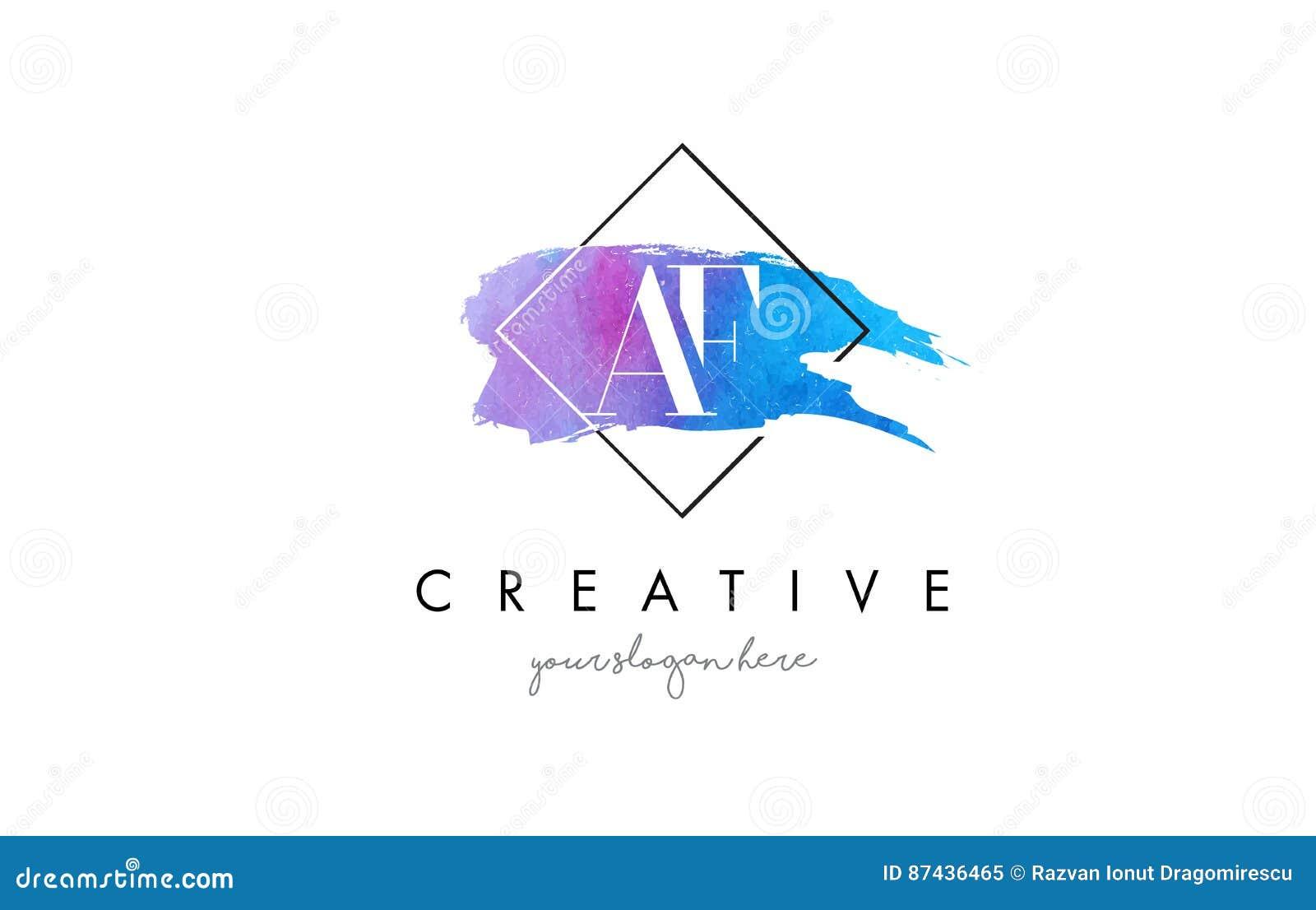 Logo artistico della spazzola della lettera dell acquerello di AF