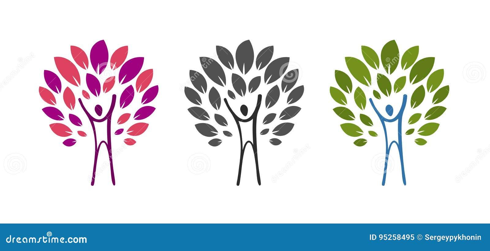 Logo astratto dell uomo e dell albero Salute, benessere, ecologia, prodotto naturale, icona della natura o etichetta Illustrazion