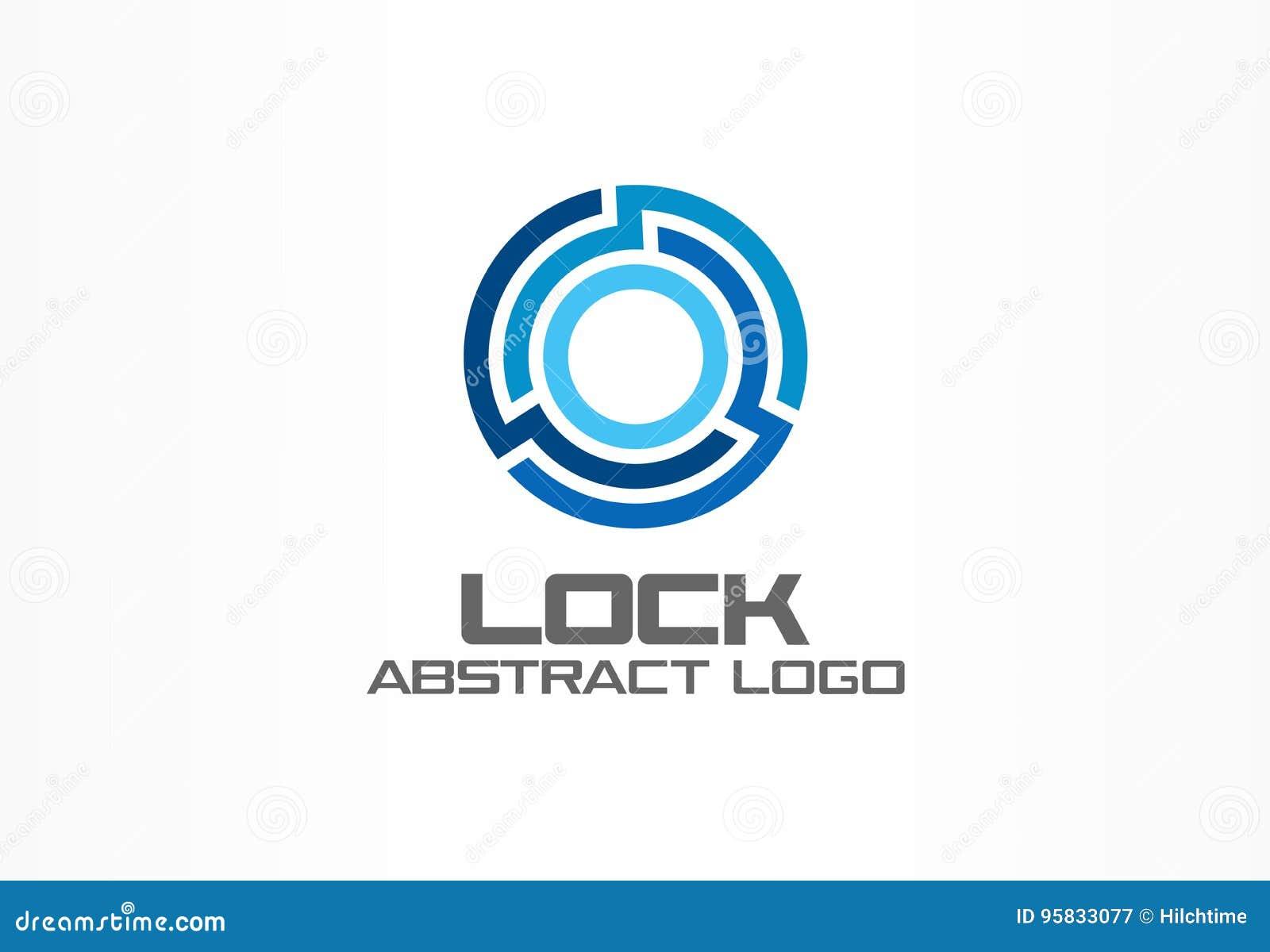 Logo astratto per la società di affari Elemento di progettazione di identità corporativa Colleghi, integri, serratura del cerchio