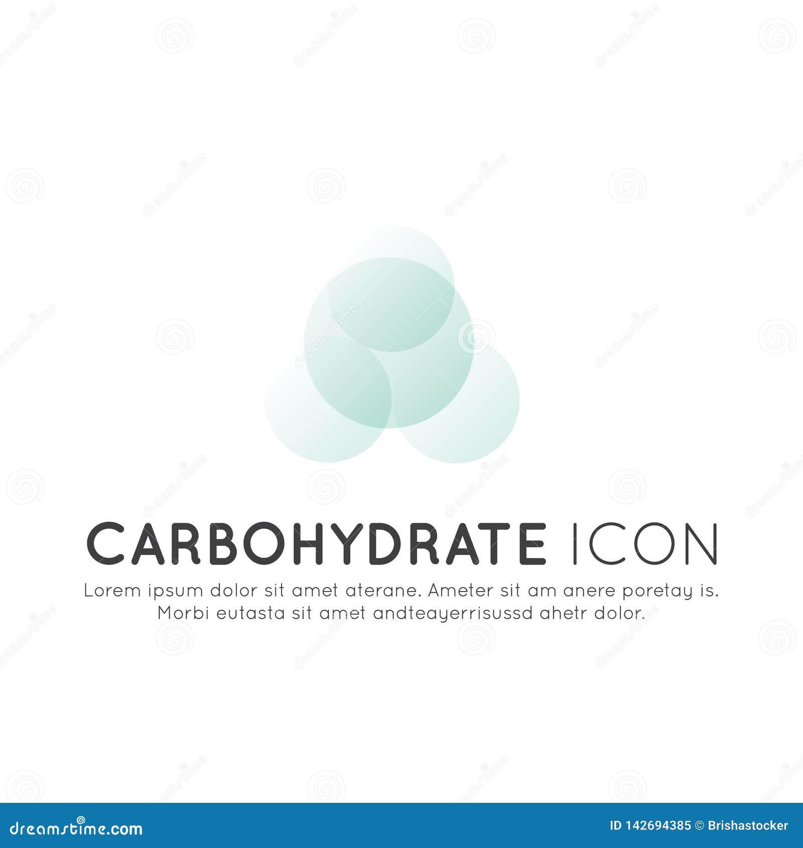 Logo av mattillägg, ingredienser och vitaments och beståndsdelar för bio packeetiketter - kolhydrat