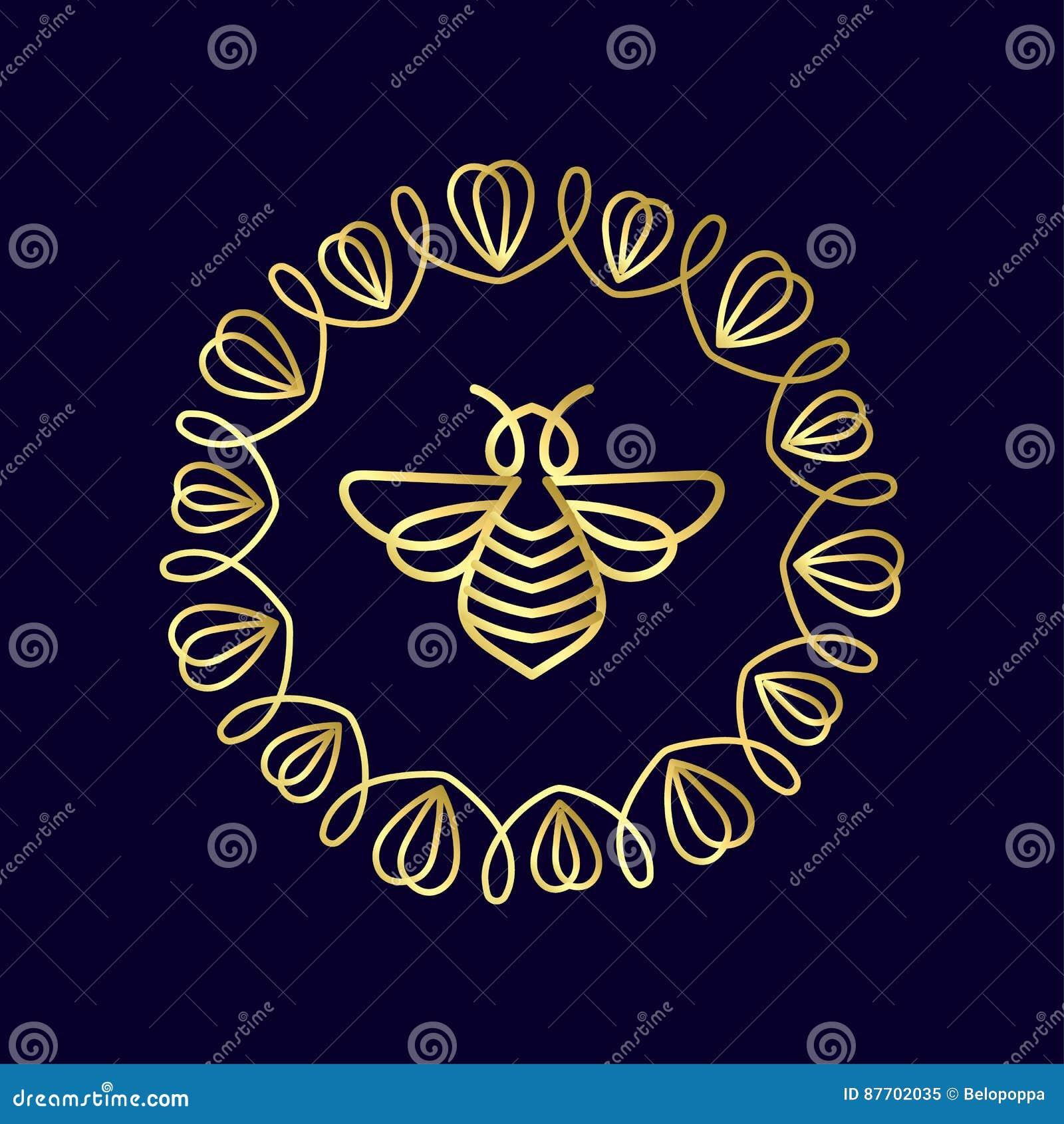 Logo avec l insecte Abeille d insigne pour l identité d entreprise