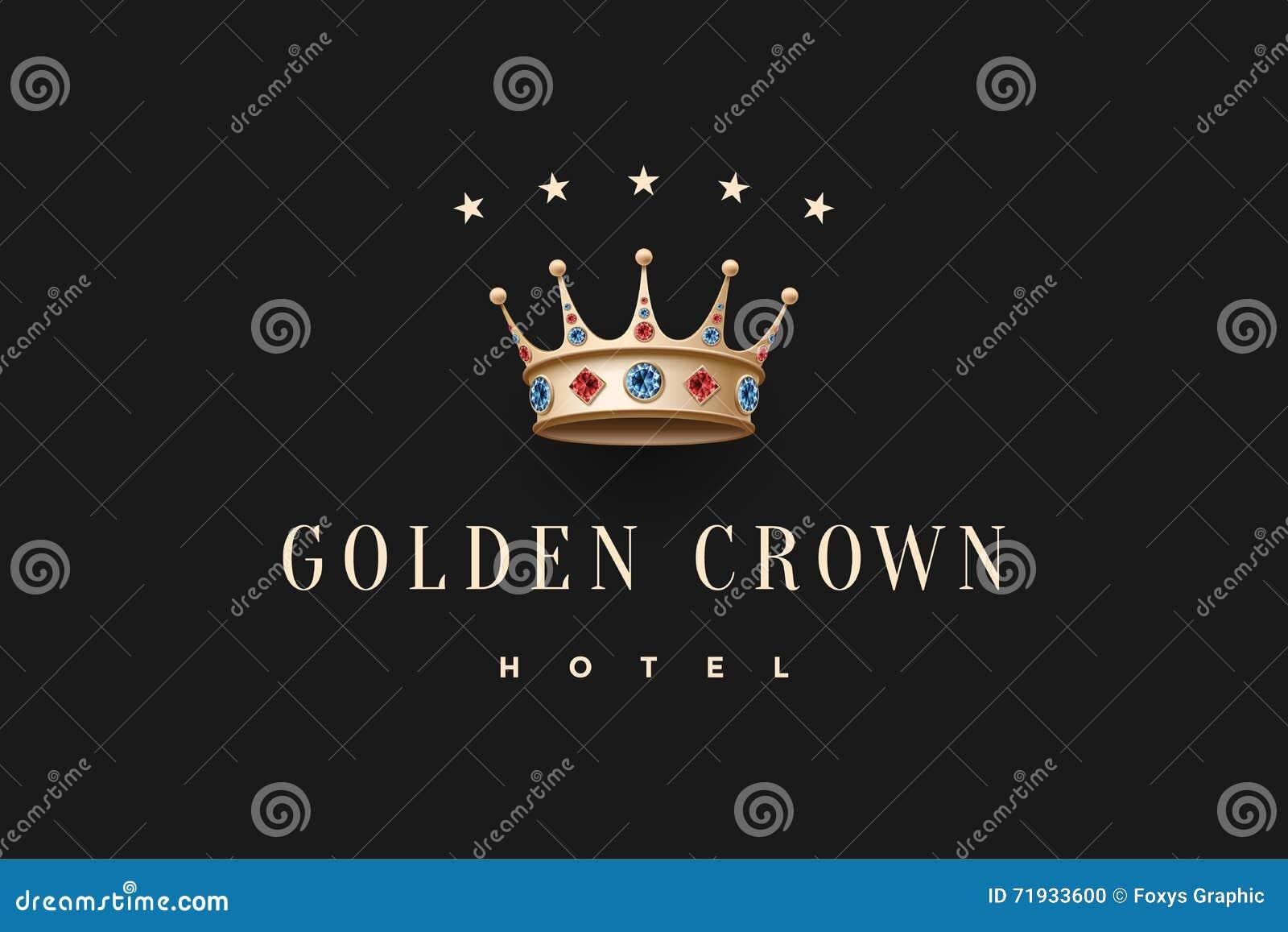 Logo avec la couronne de roi d or, le diamant et l hôtel d or de couronne d inscription
