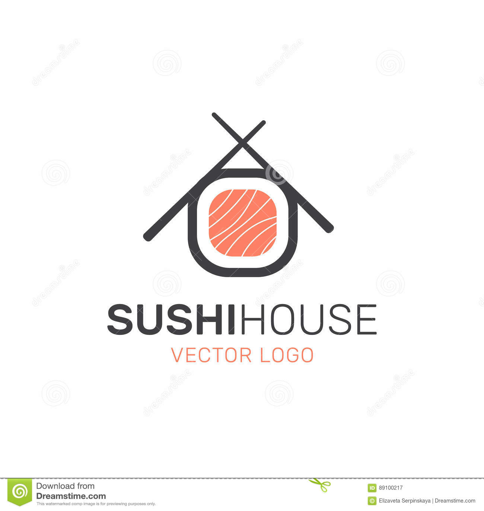 Logo Azjatycki Uliczny fasta food bar lub sklep, suszi, Mak, Onigiri Łososiowa rolka z Chopsticks