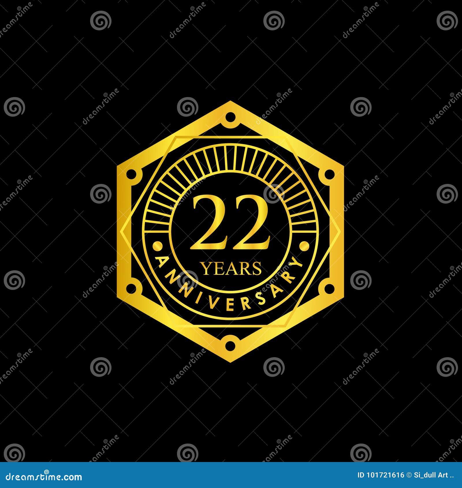 logo badge anniversary black and gold 22 years stock vector