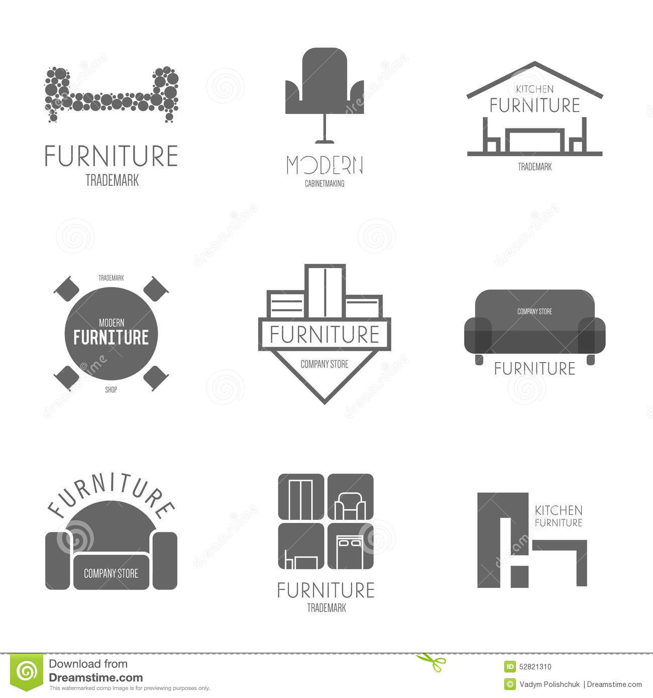 Royalty Free Vector  Download Logo. Logo  Badge Or Label Inspiration With Furniture For Shops