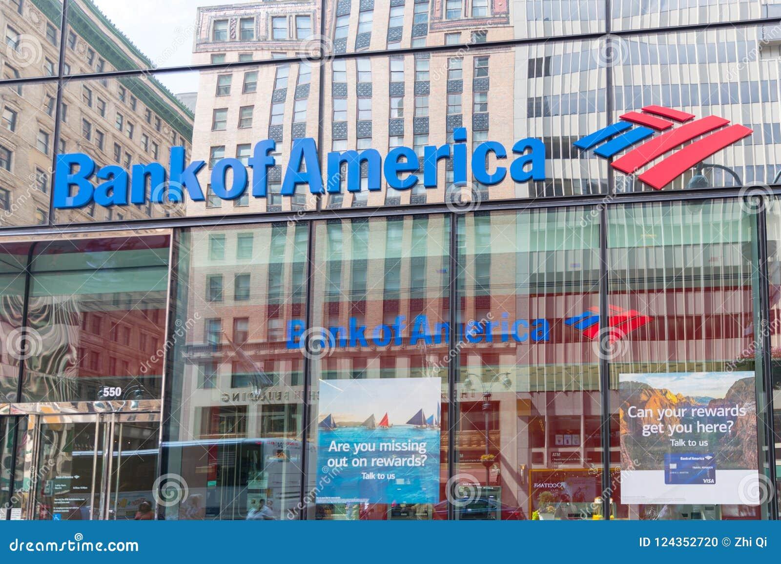 Logo of Bank of America in modern office building in New York.