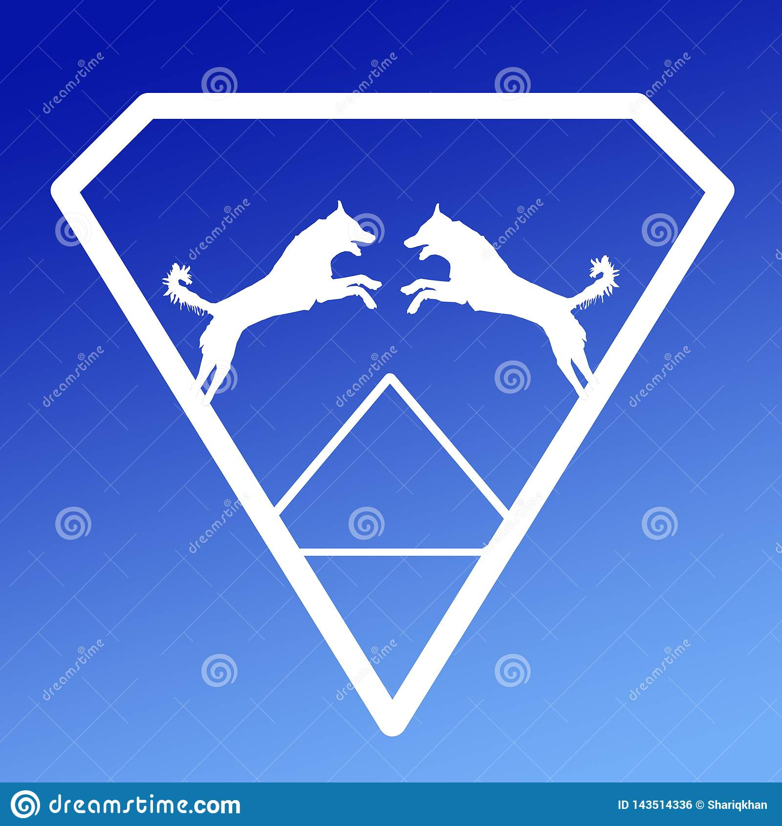 Logo Banner Image Jumping Dog en Diamond Shape en fondo azul