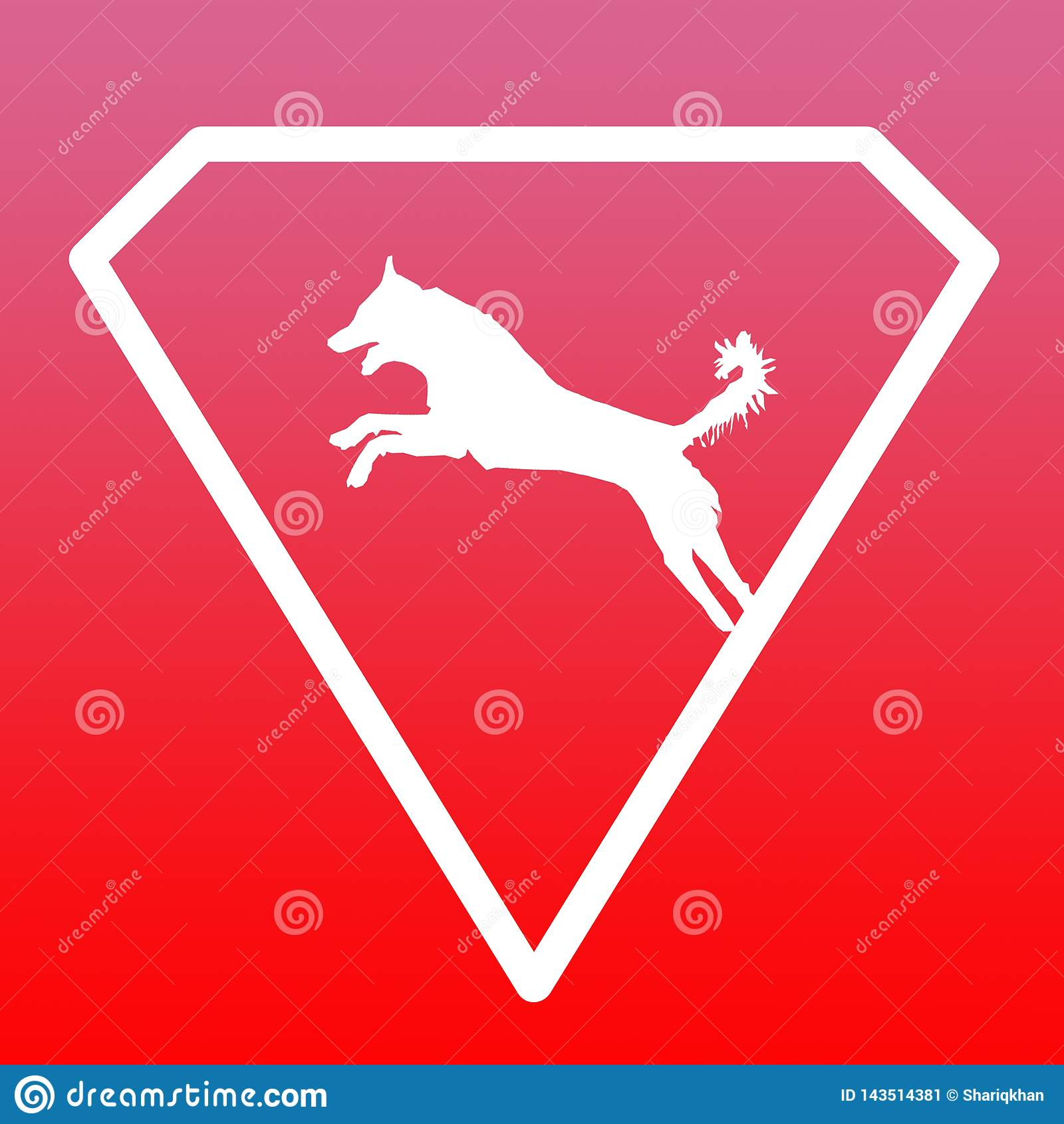 Logo Banner Image Jumping Dog en Diamond Shape en fondo rosado rojo