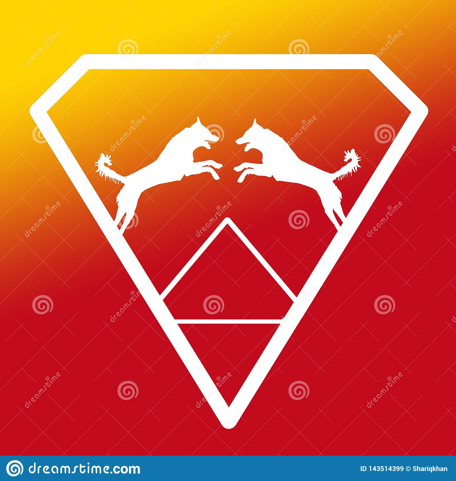 Logo Banner Image Jumping Dog-Paar in Diamond Shape op Geeloranje Achtergrond