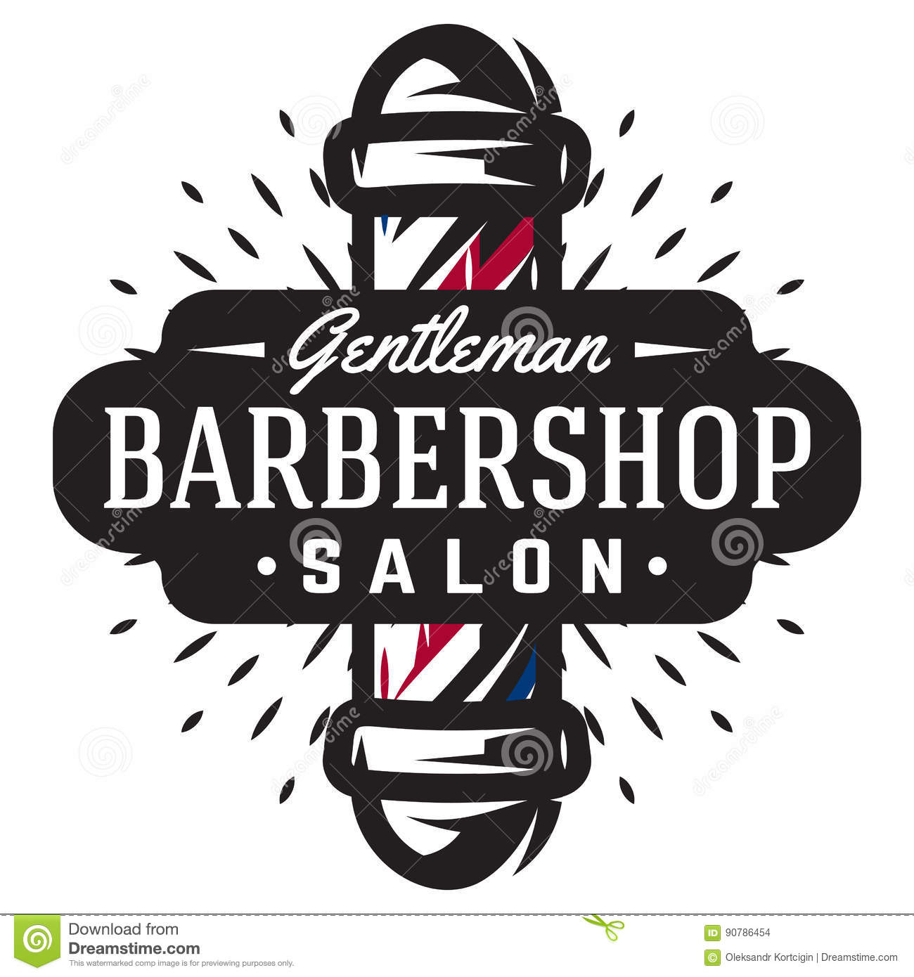 logo for barbershop with barber pole in vintage style