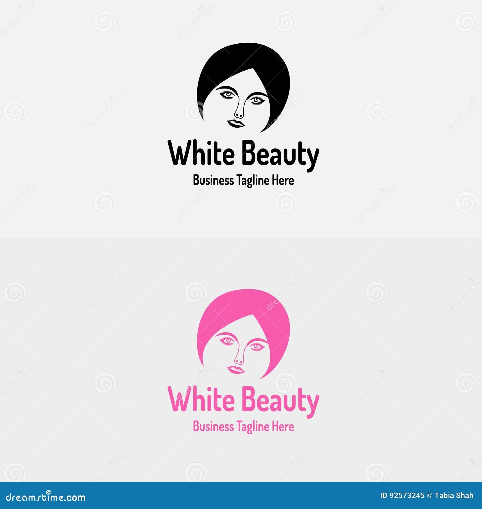 Logo bianco della ragazza di bellezza