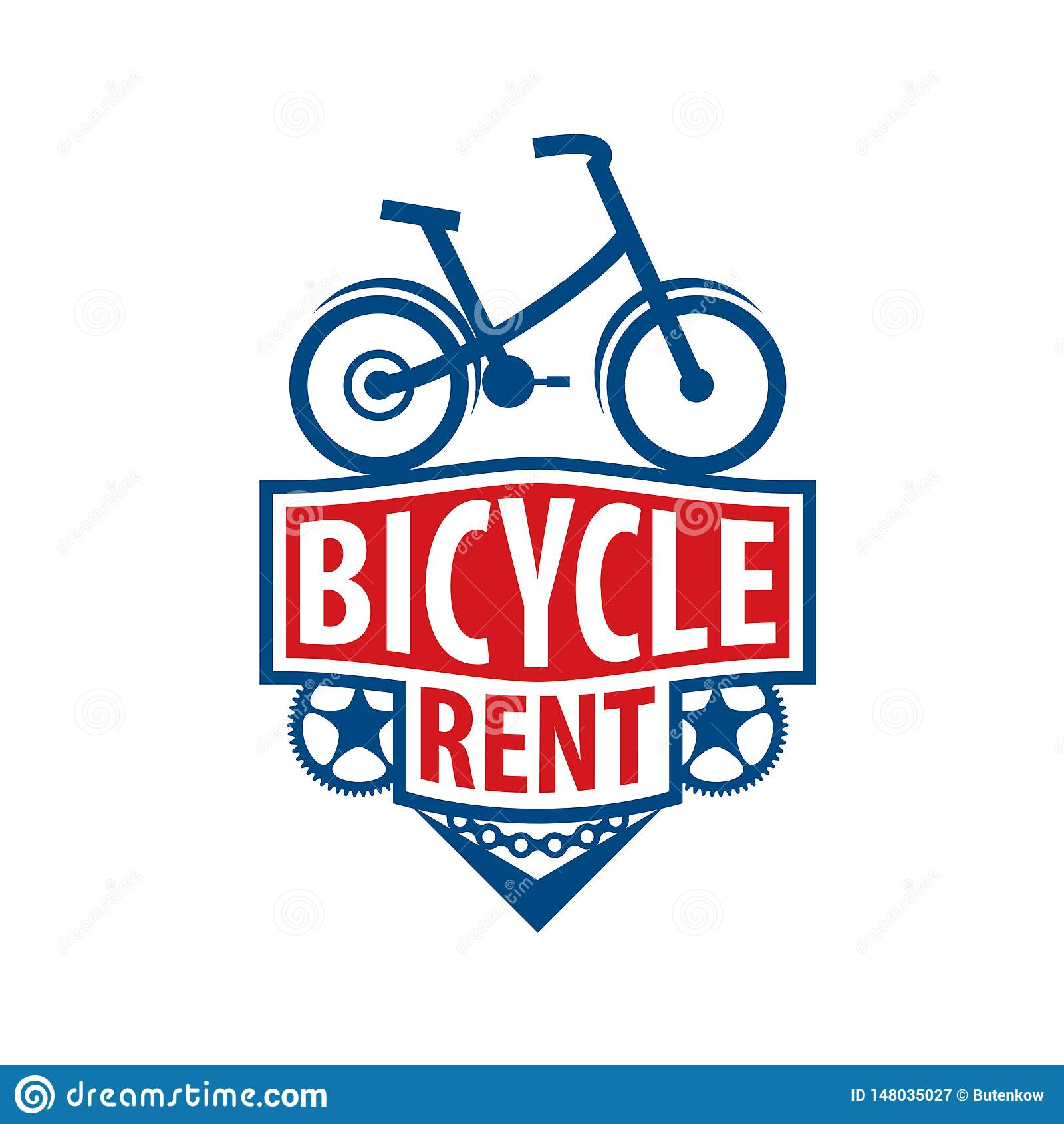 Logo for Bicycle rental. Vector illustration on white background