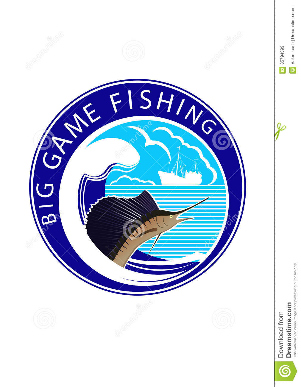 logo big game fishing stock vector image of ship seiner 85794399. Black Bedroom Furniture Sets. Home Design Ideas