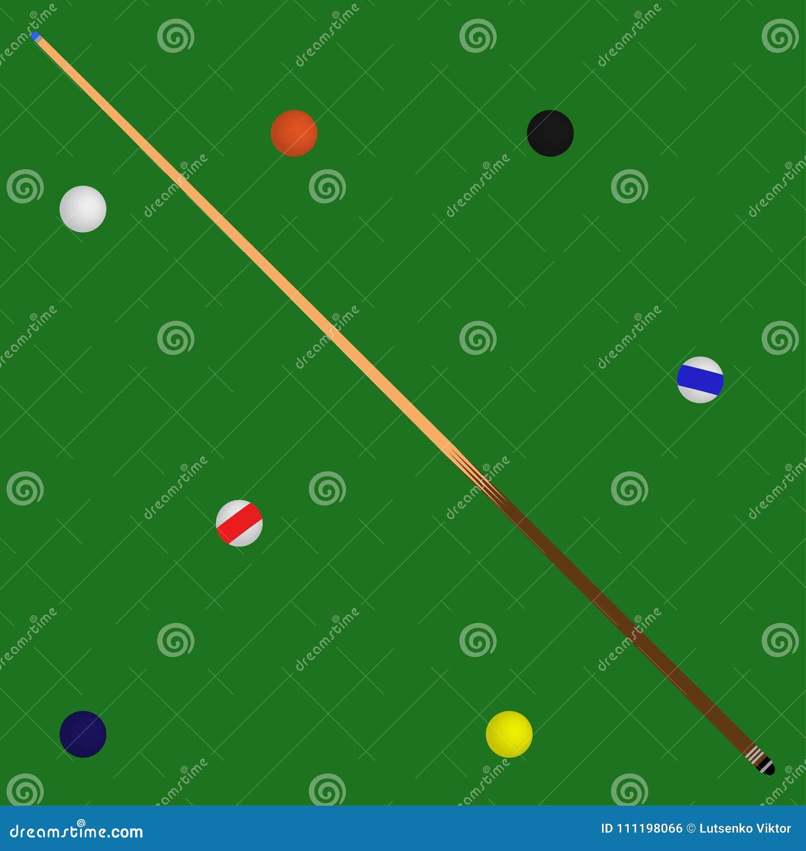 Logo Billiard-ballen in een groen poollijst en een richtsnoer