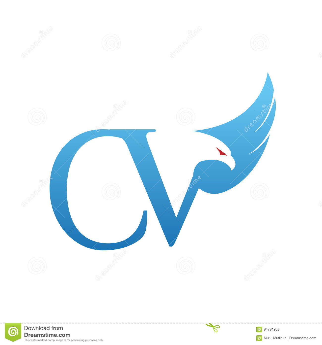 logo bleu de cv de hawk initial de vecteur illustration de