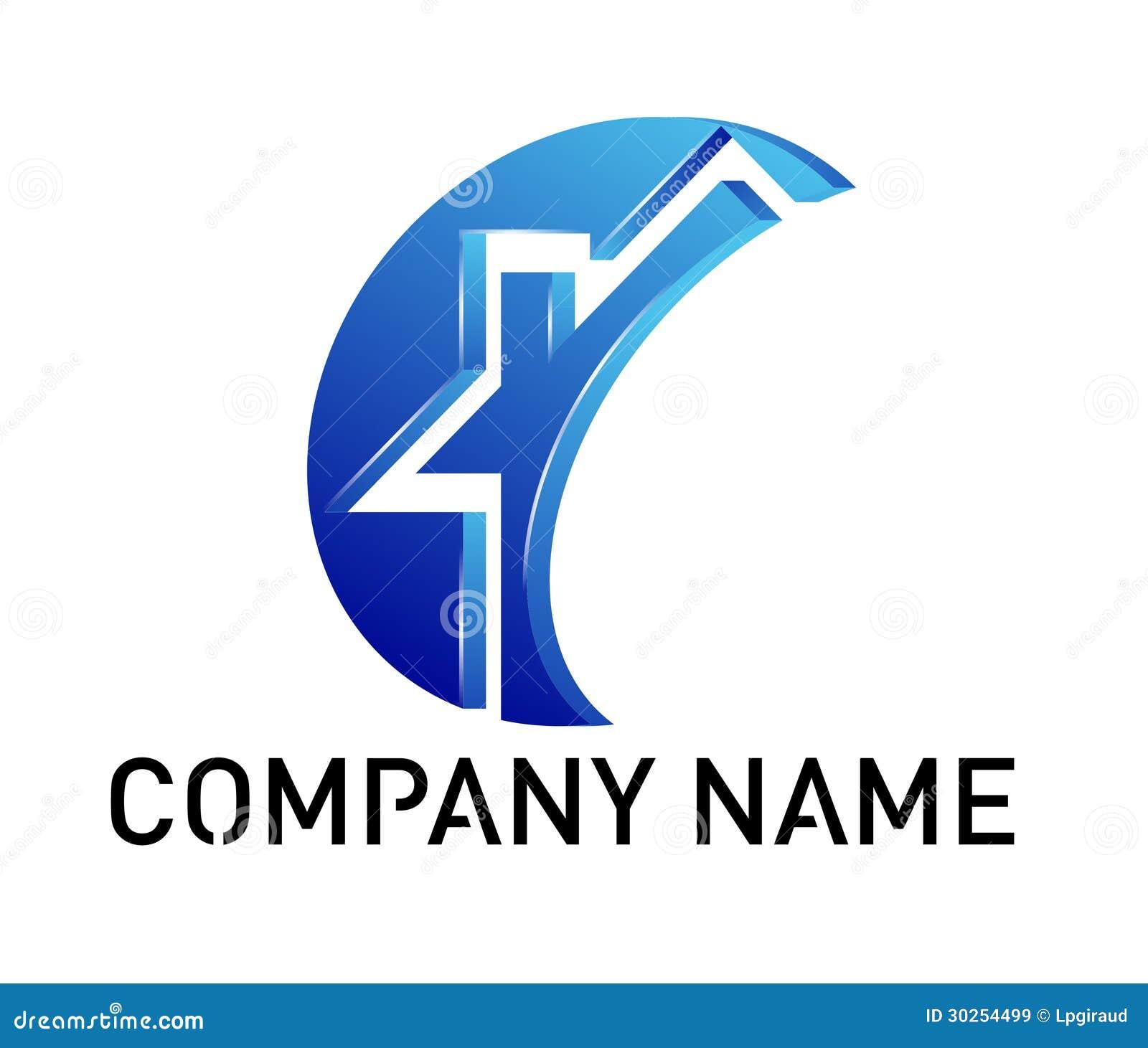 Logo bleu de maison illustration stock illustration du for Logo de empresa gratis