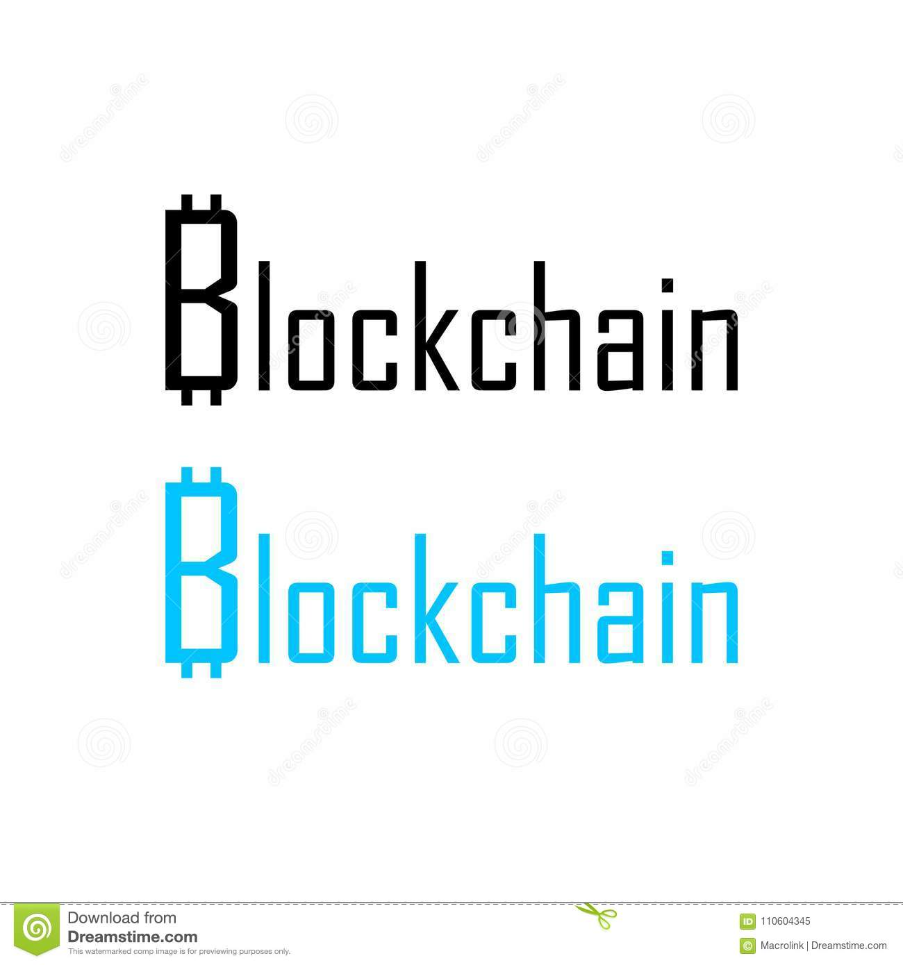 Logo For Blockchain Project With Bitcoin Symbol Stock Vector