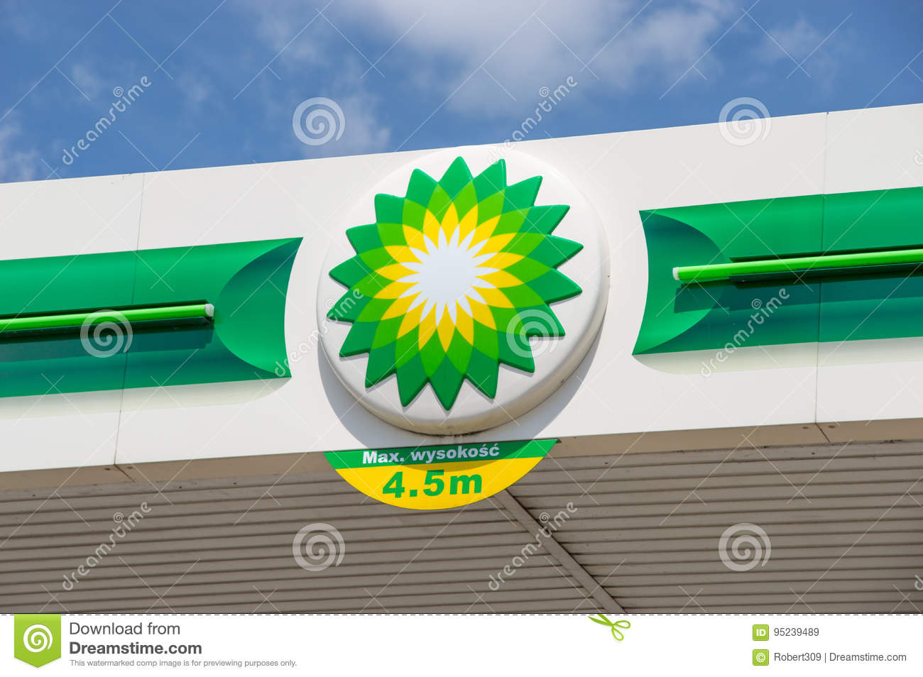 Logo Of Bp British Petroleum On Gas Station Editorial Stock Image