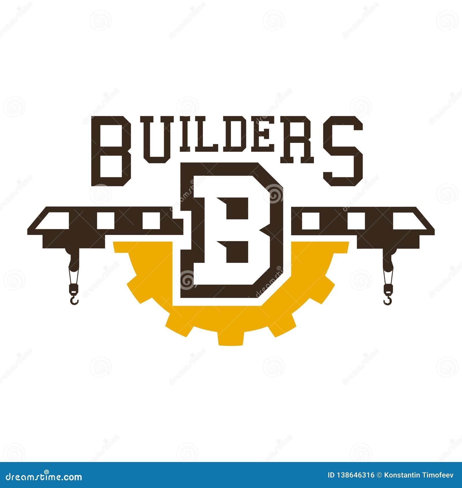 Logo budowa żurawie duże biegów Robot budowlany również zwrócić corel ilustracji wektora Mieszkanie styl