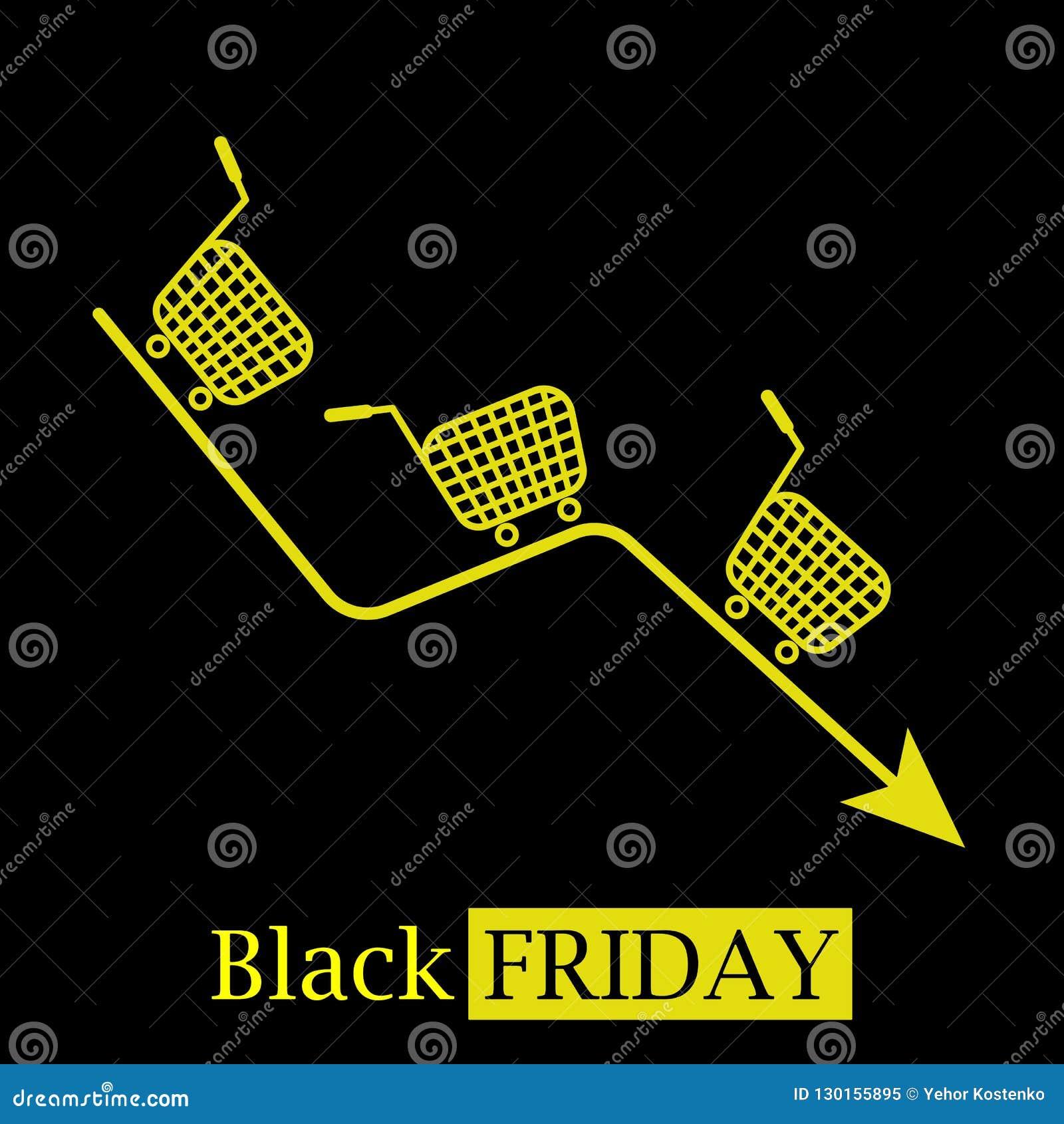 Logo caldo nero dell icona di concetto di vendite di venerdì con i carrelli