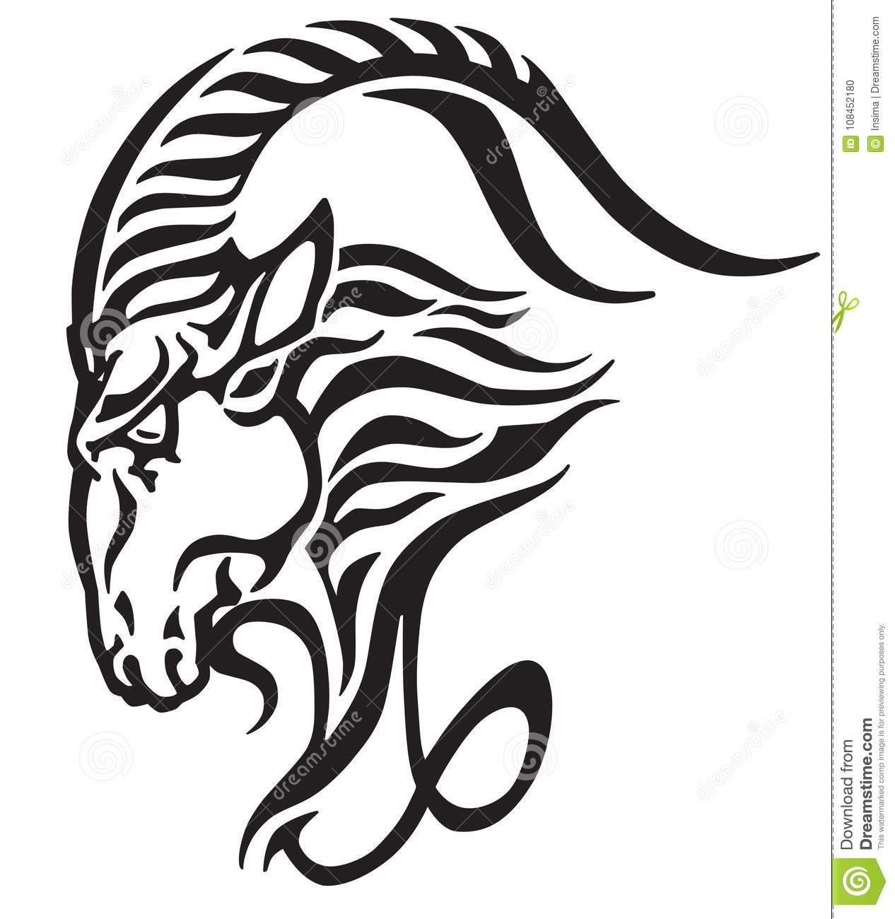 50bb8d648 Capricorn logo. Head of mythological sea goat. Tribal tattoo style  astrological sign . Black and white vector illustration