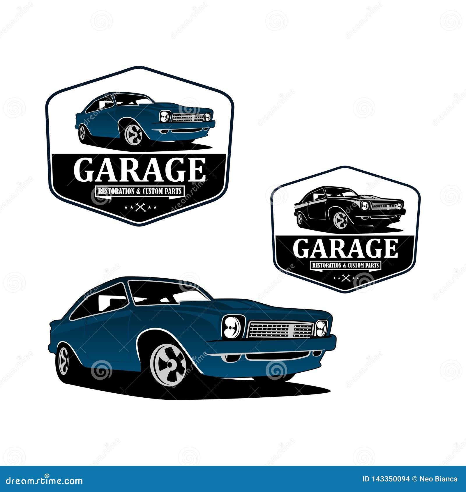 Restoration And Garage Classic Car Custom Logo Vector Stock Vector