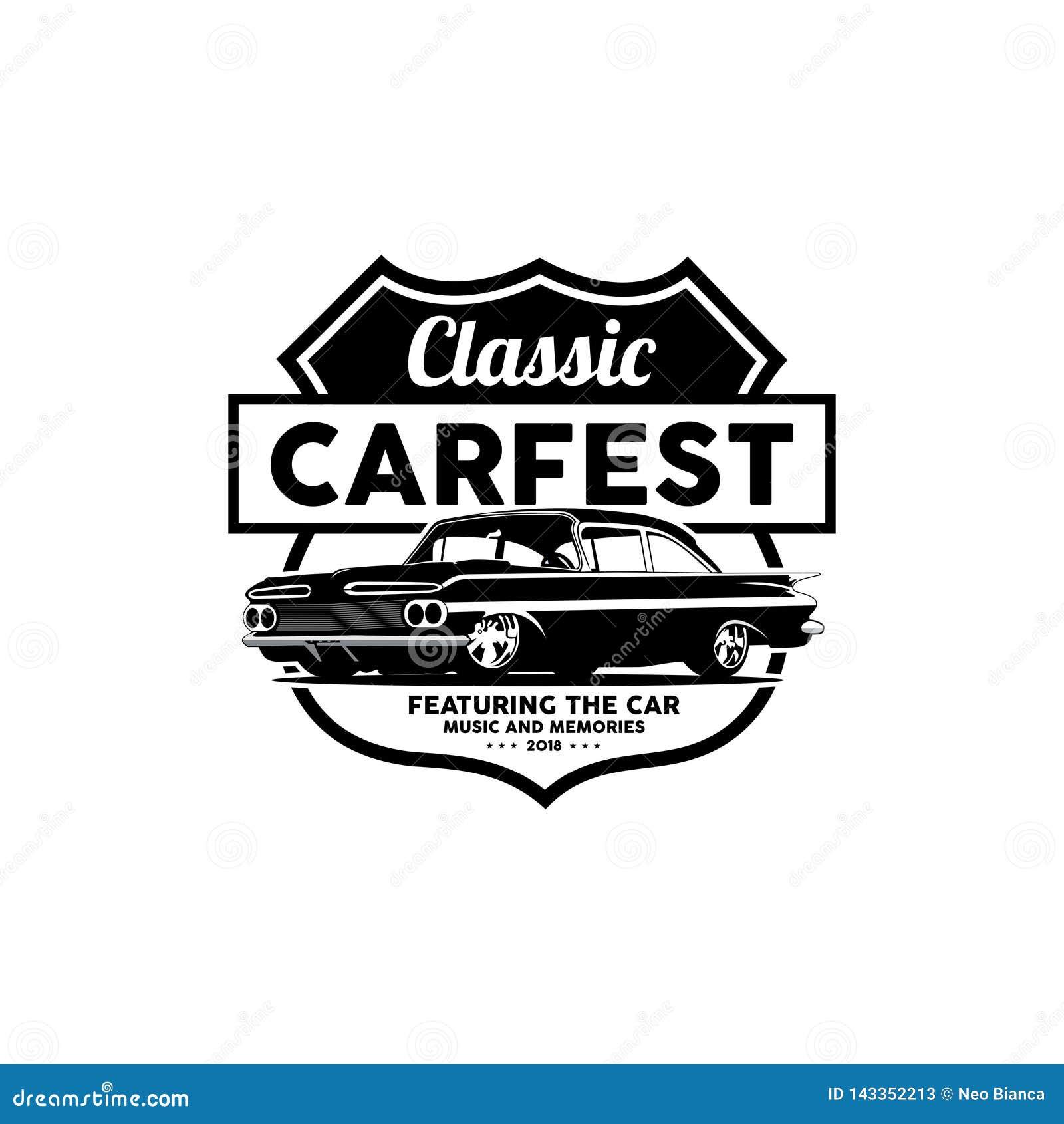 Classic Car Festival Music And Memories Logo Vector Stock Vector