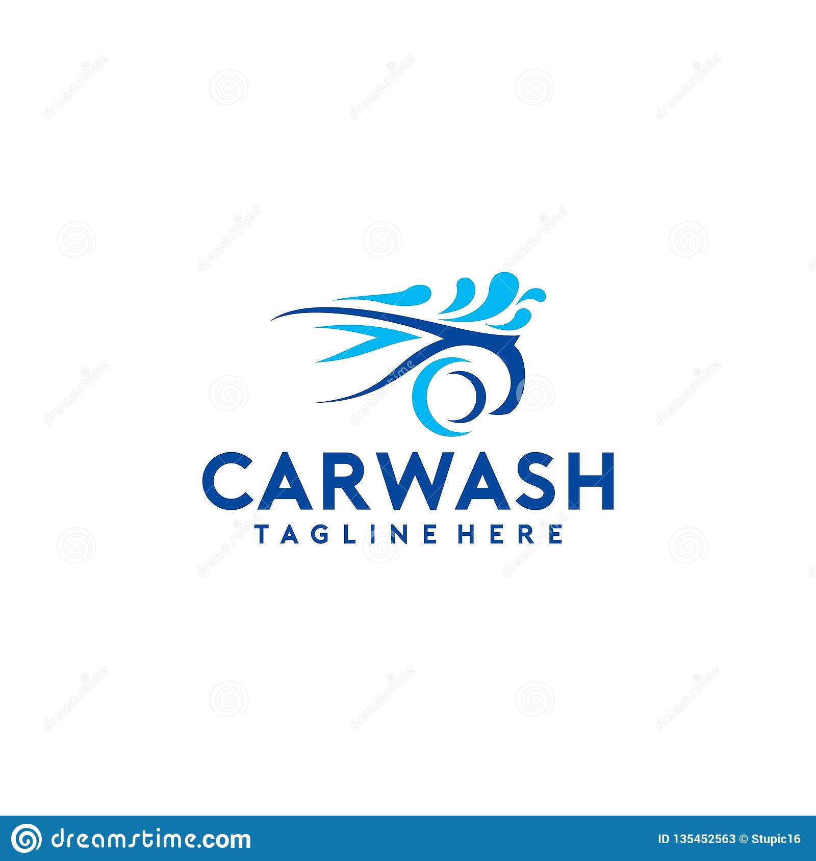 Creative And Colorful Car Wash Logo Design Template Collection Stock