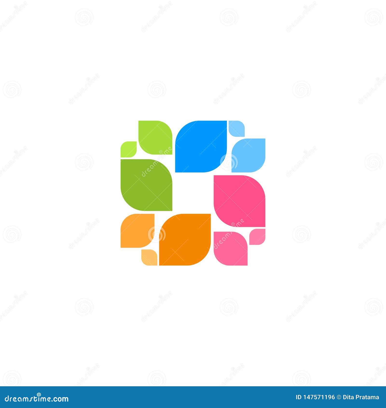 Logo carré coloré de résumé