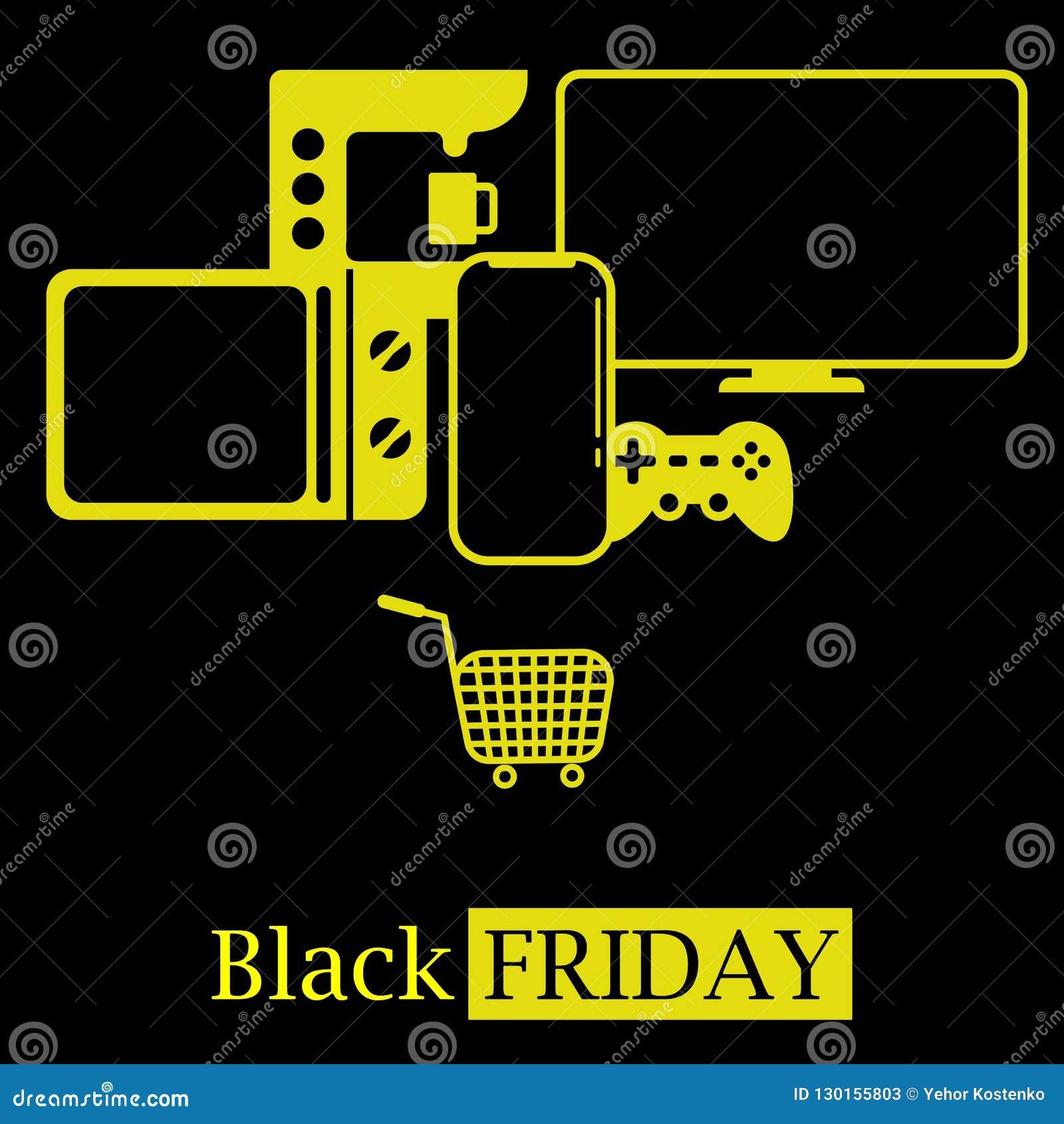 Logo chaud noir d icône de concept de ventes de vendredi avec TV, téléphone portable, affaires chaudes de micro-onde