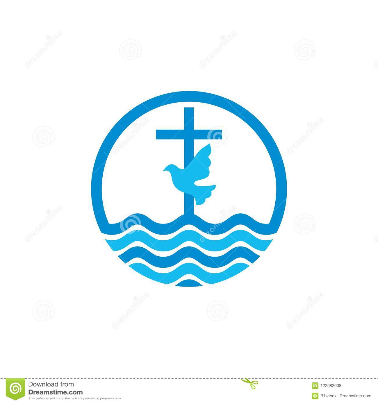 Logo Church Christian Symbols Cross And Dove Waves Jesus The