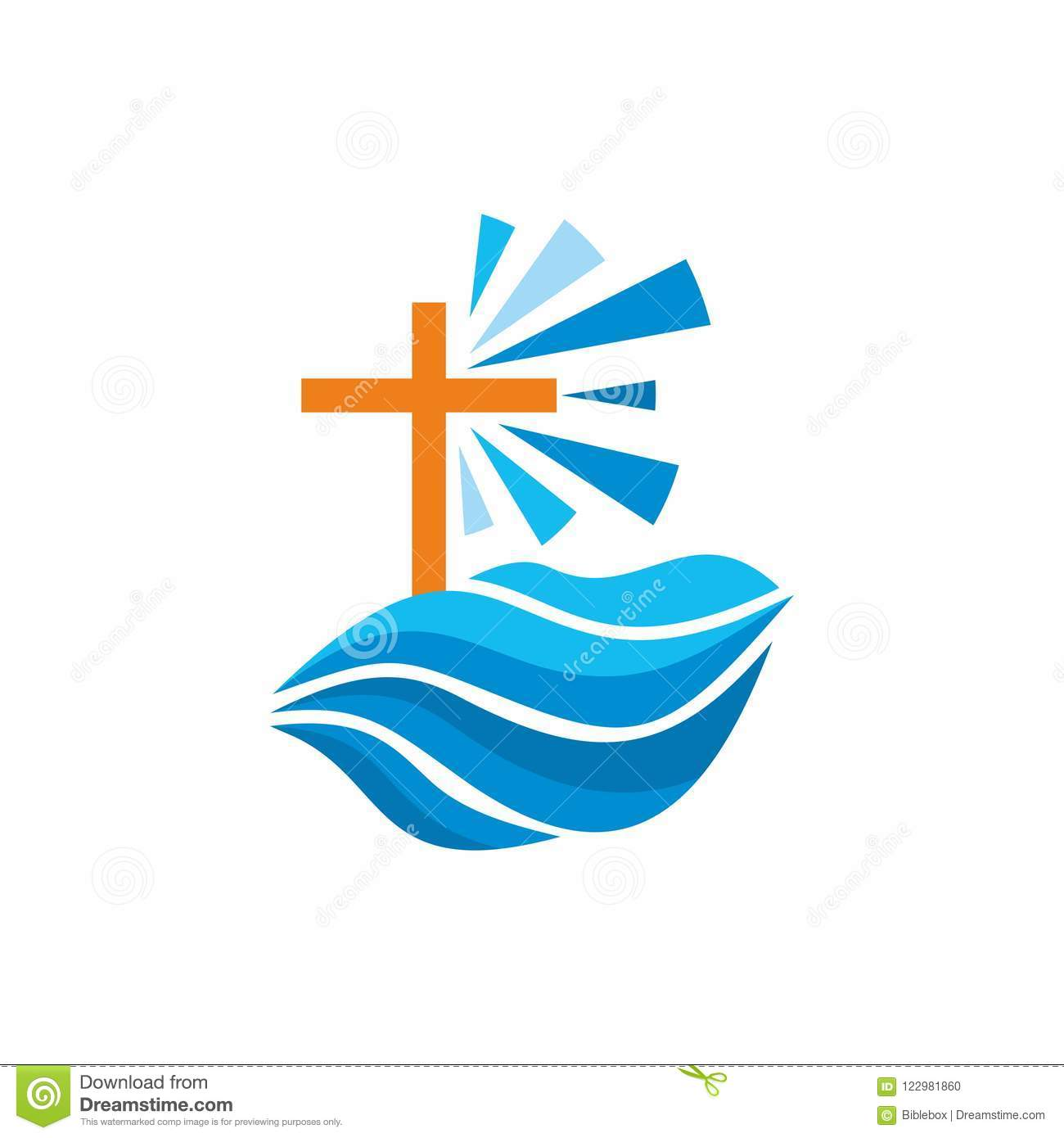 Logo Church Christian Symbols Waves Cross Streams Of Water Alive
